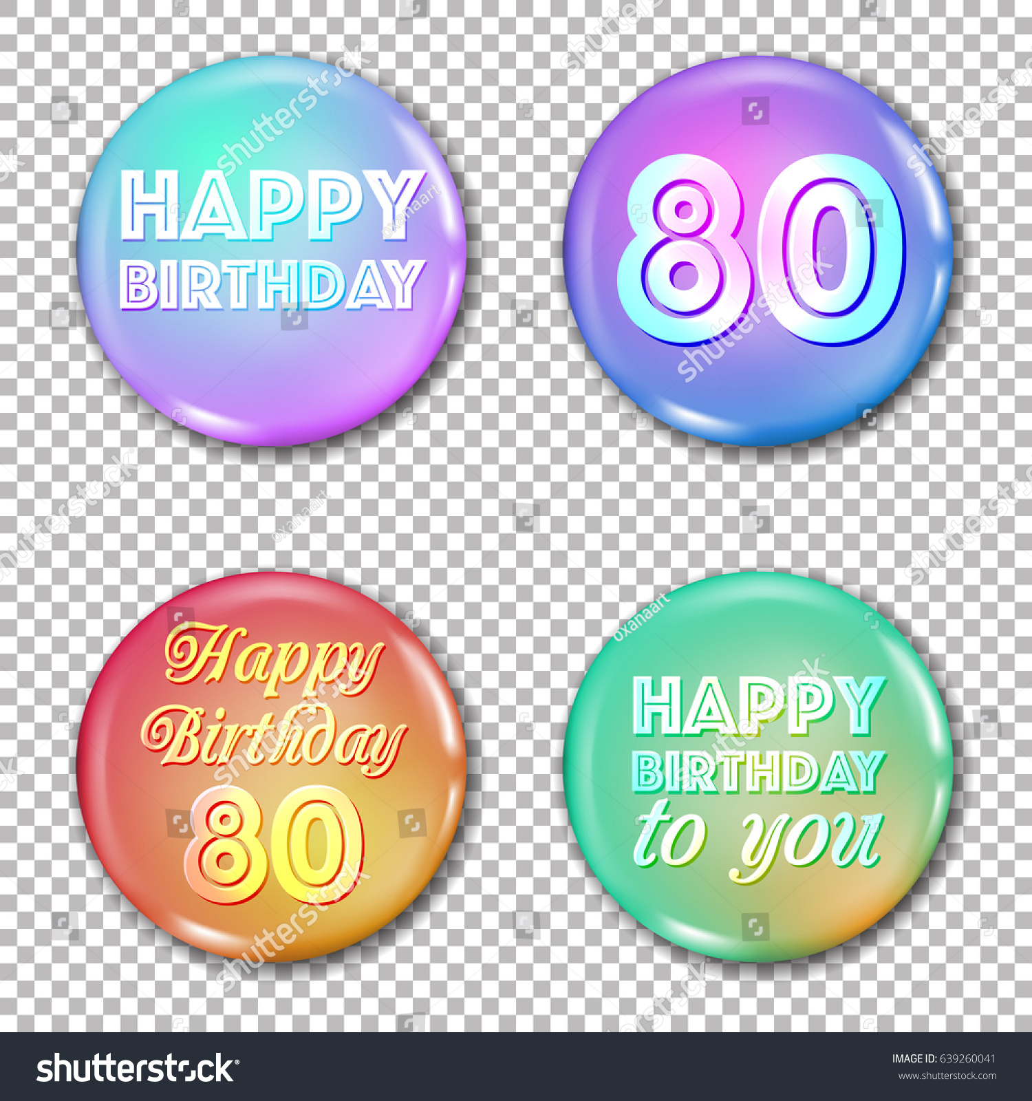 Happy Birthday Labels For Greeting Card Or Decoration Jubilee 80 Years Old Celebration Glossy Circle Stickers
