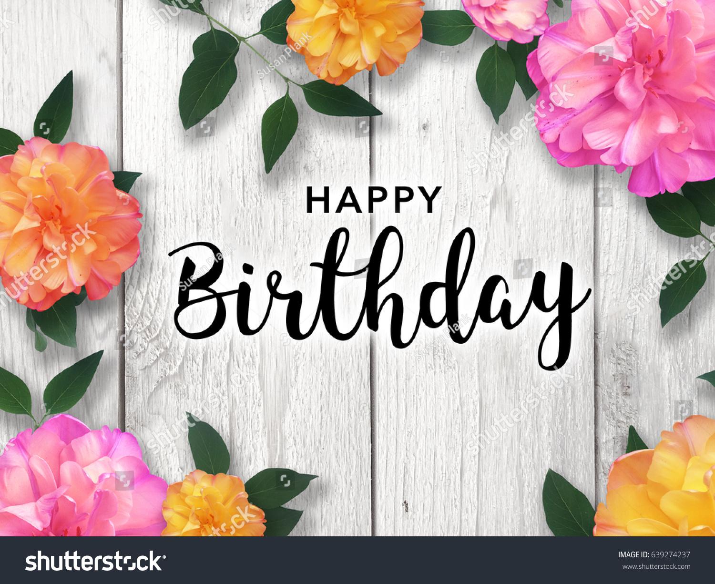 Happy Birthday Message Bright Flower Border Stock Photo Edit Now