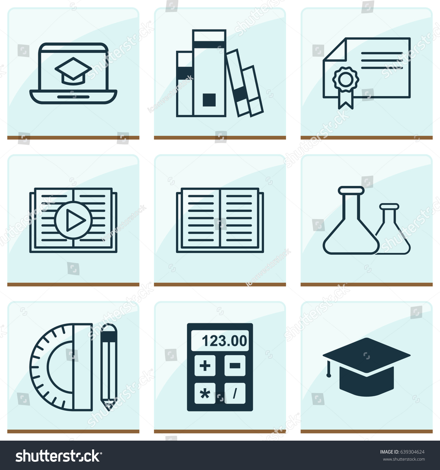School Icons Set Collection Chemical Library Stock Vector 639304624 ...