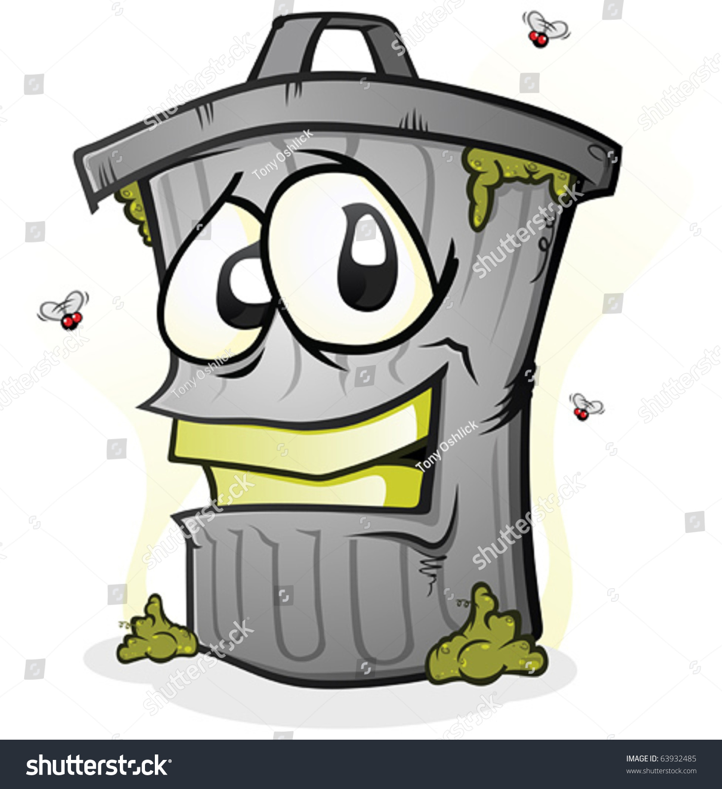 Smiling dirty trash can cartoon character stock vector illustration