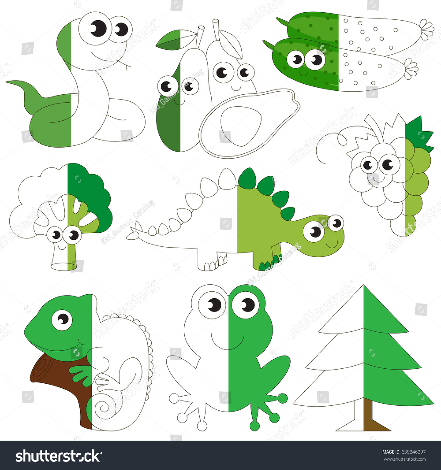 Funny Green Color Animals Fruits Vegetables Stock Photo (Photo ...