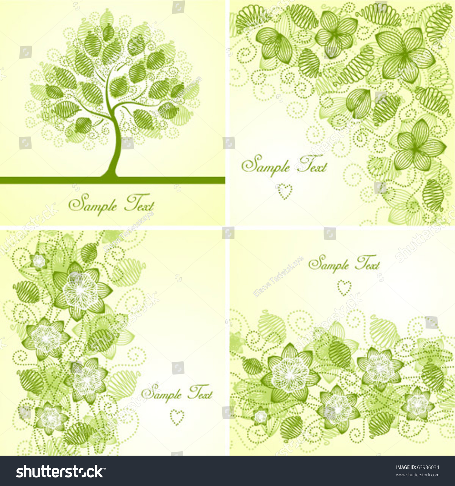 Set Vintage Floral Backgrounds Stock Vector Royalty Free 63936034