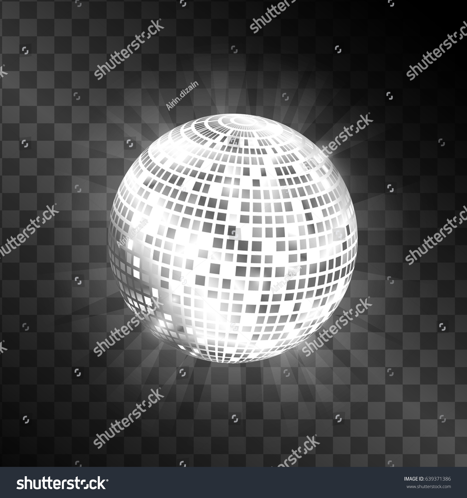 Disco ball isolated on transparent background stock vector for Disco ball coloring page