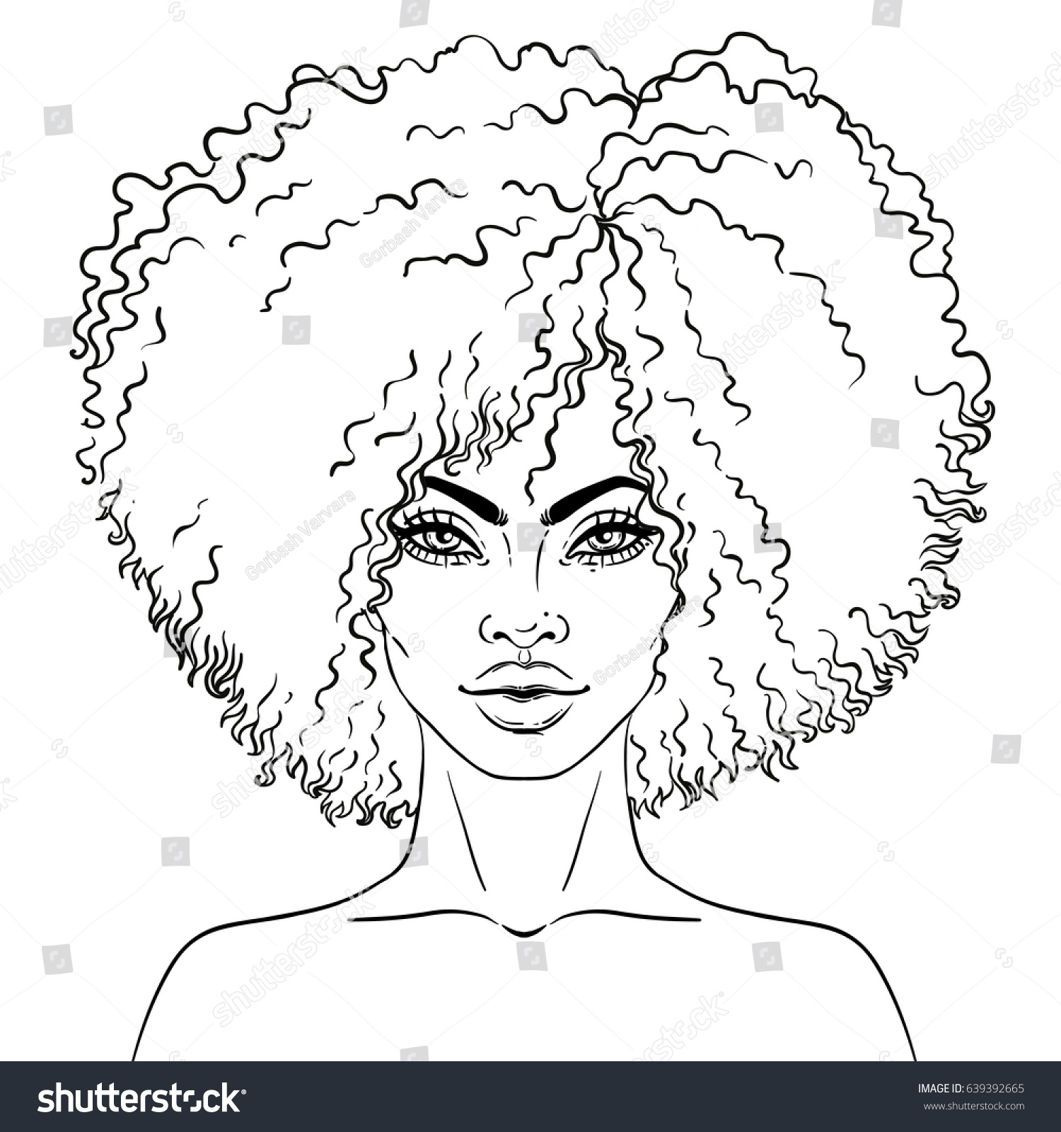 black girl coloring pages - african american pretty girl vector illustration stock