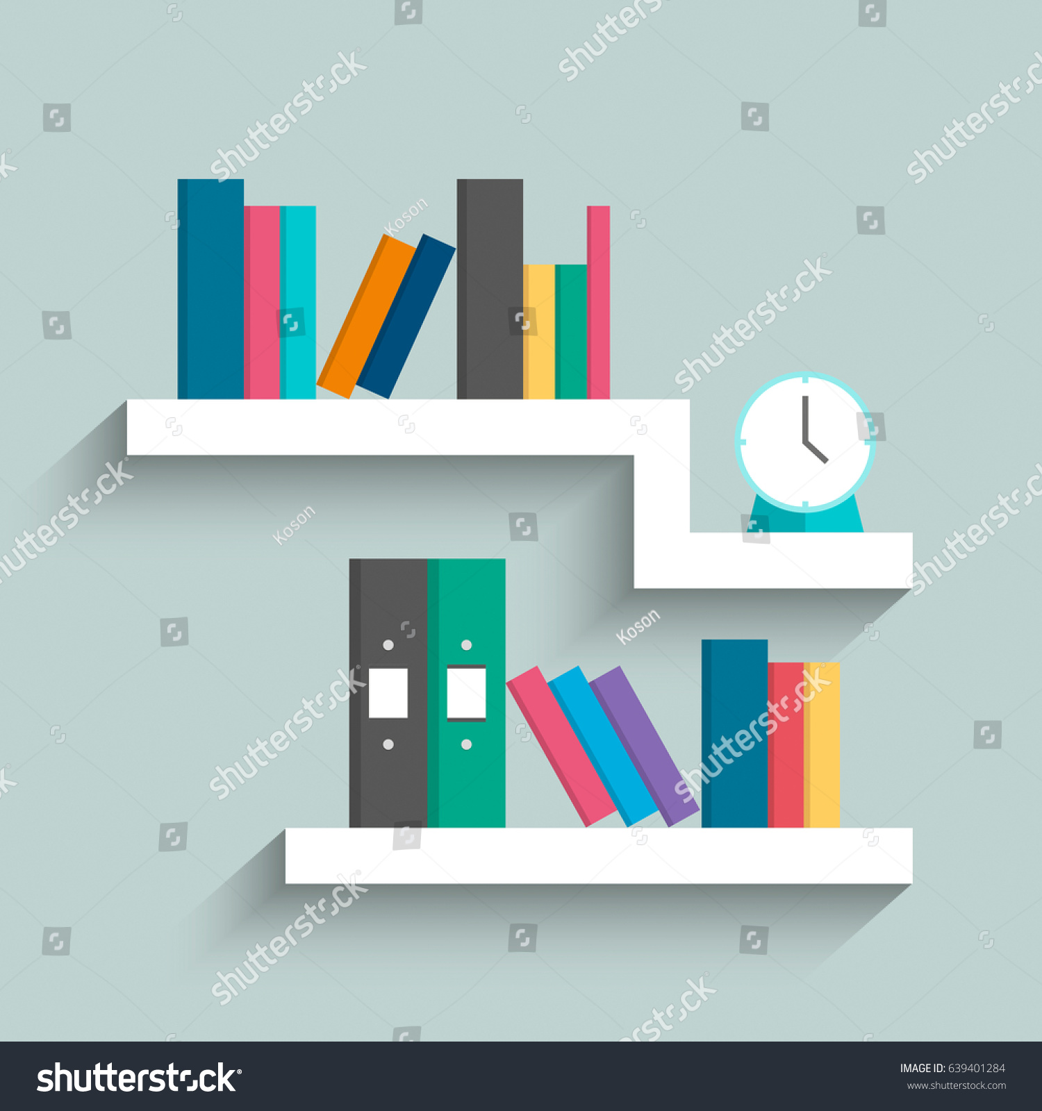 Bookshelf Colorful Books Clock On Blue Stock Vector (Royalty Free ...