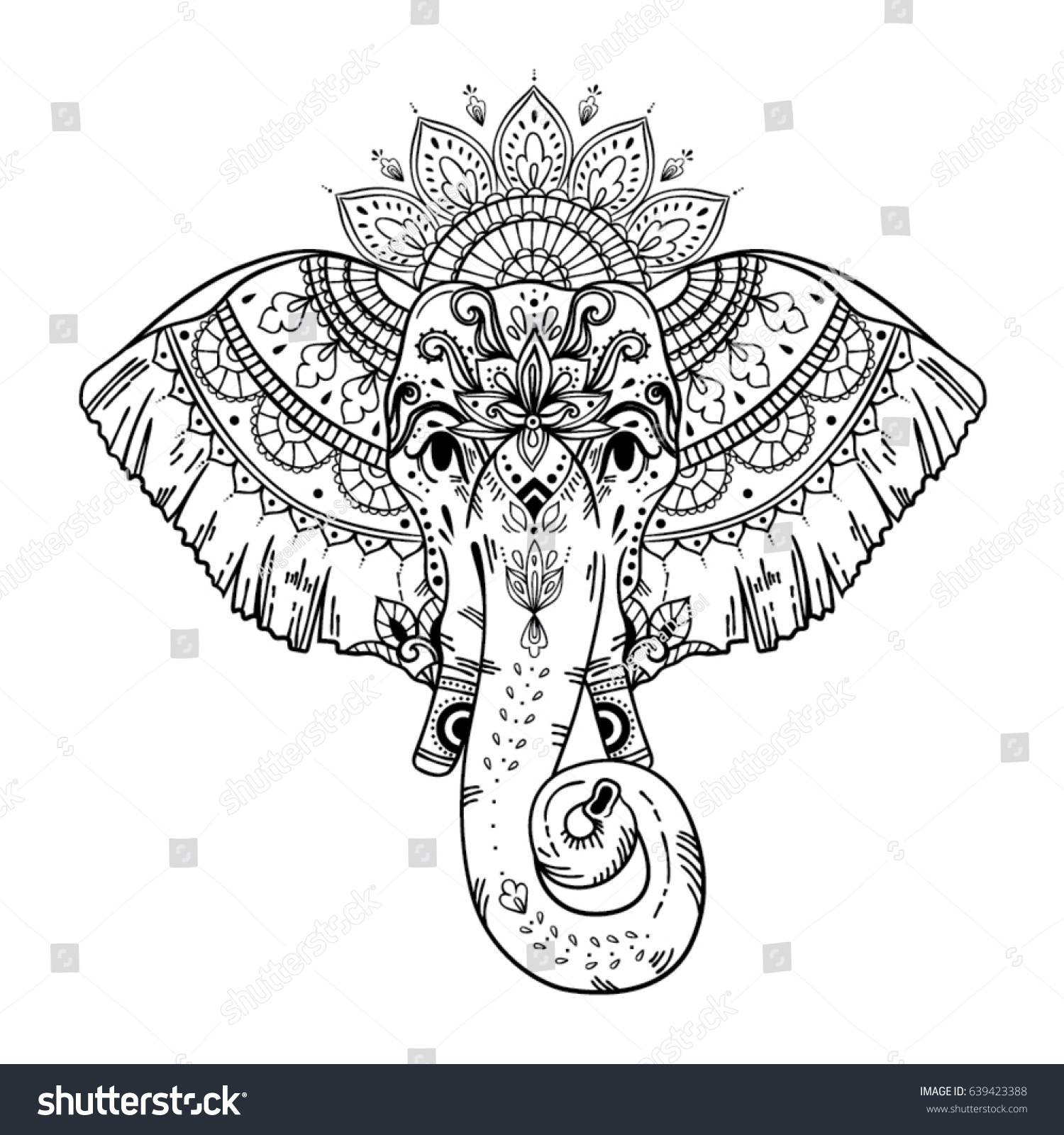 Boho Style Elephant Face For T Shirt Design Print On Products Tattoo
