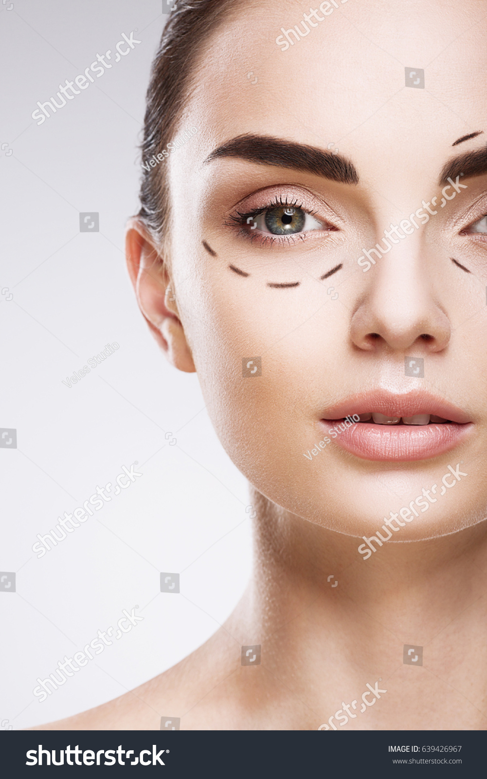 Attractive Girl Thick Eyebrows Studio Background Stock Photo Edit