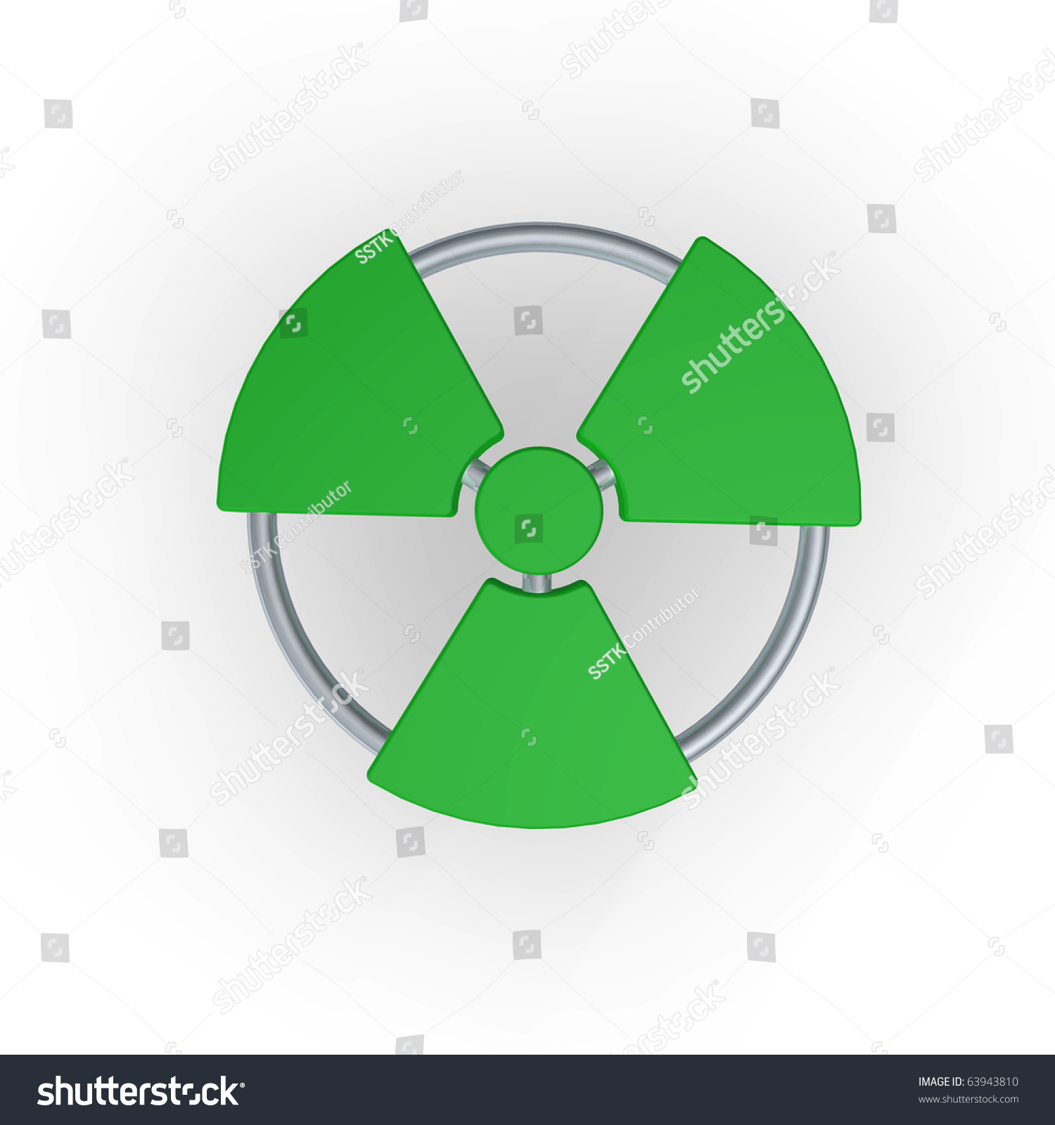 Green Nuclear Symbol - 3d Illustration - 63943810 ...