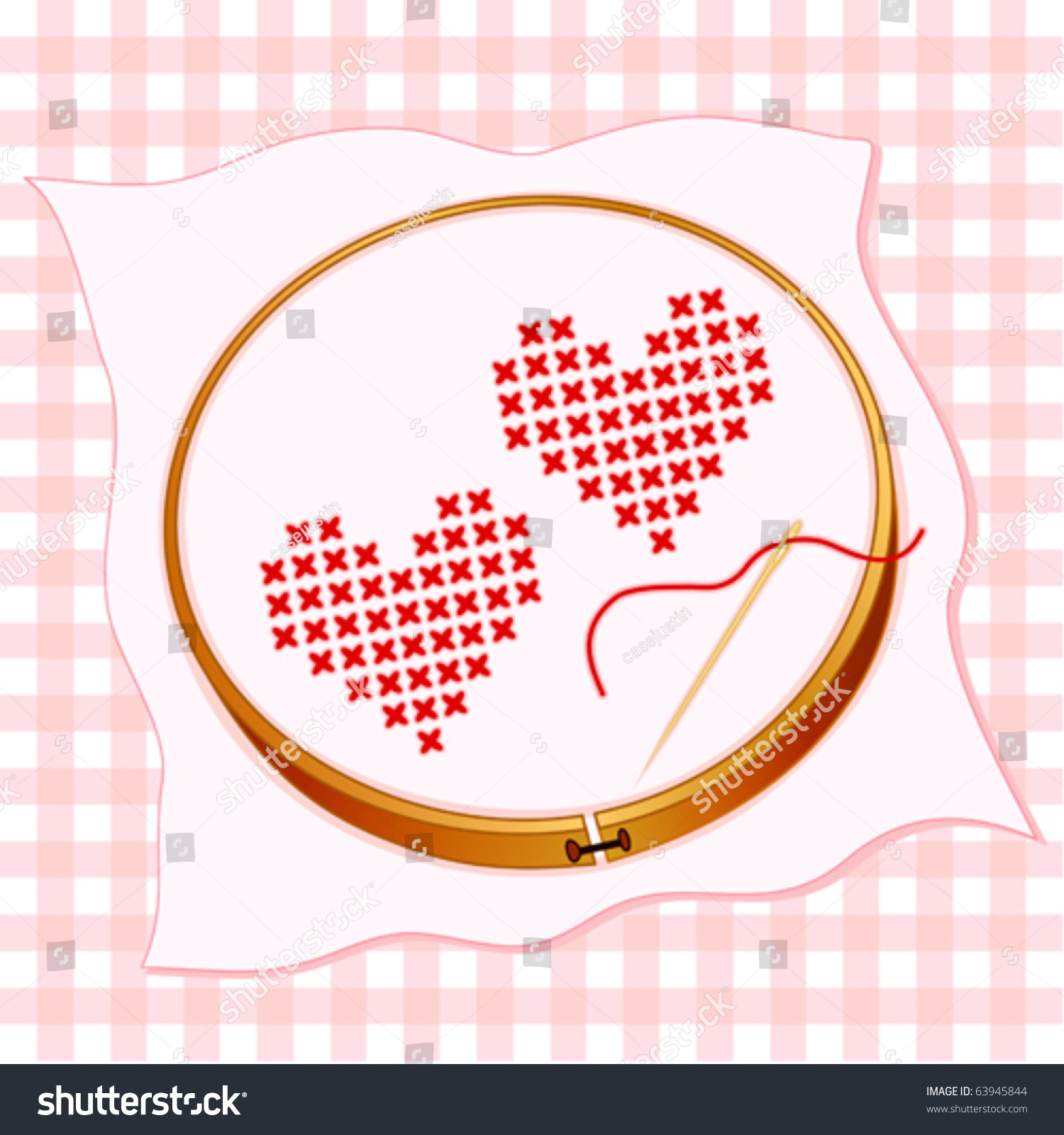 Embroidery two valentine hearts in traditional cross