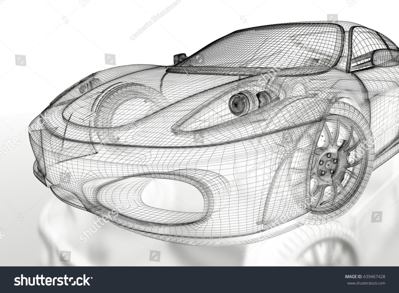 Car Vehicle 3d Blueprint Mesh Model Stock Illustration 639467428 ...