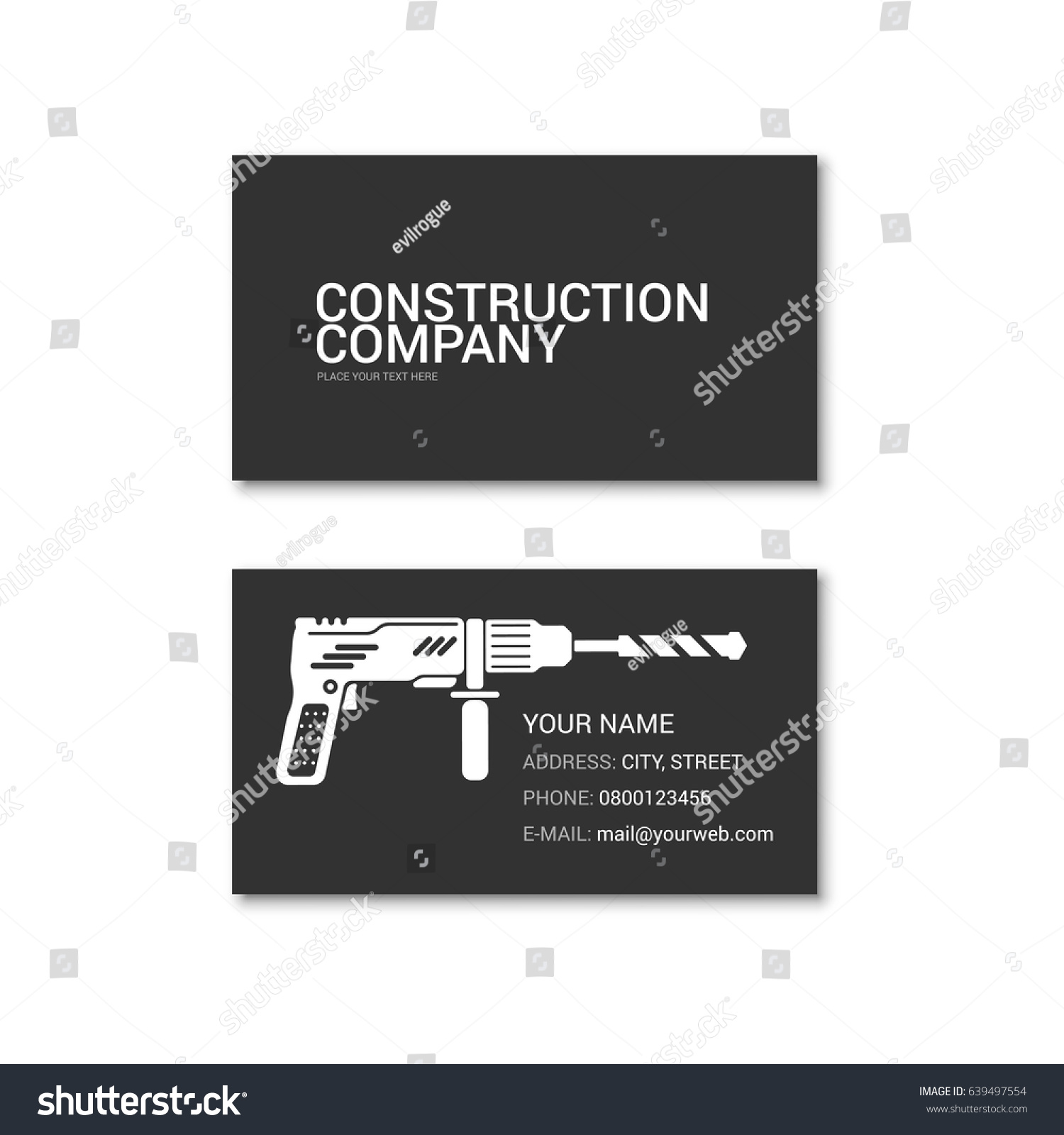 Simple business card construction company technical stock vector simple business card of construction company technical support vector illustration isolated on a white magicingreecefo Images