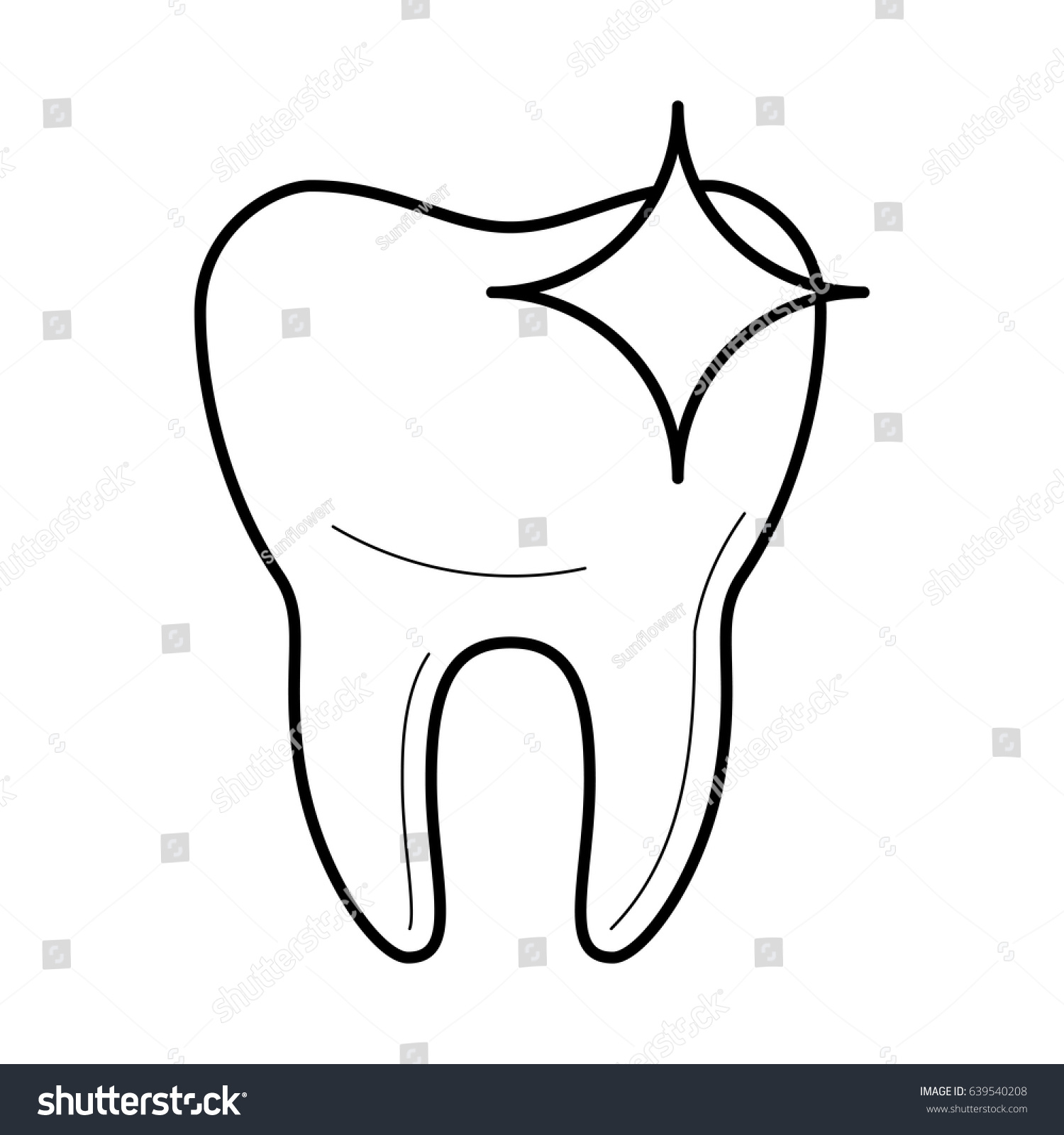 healthy clean tooth icon sparkling after stock vector 639540208