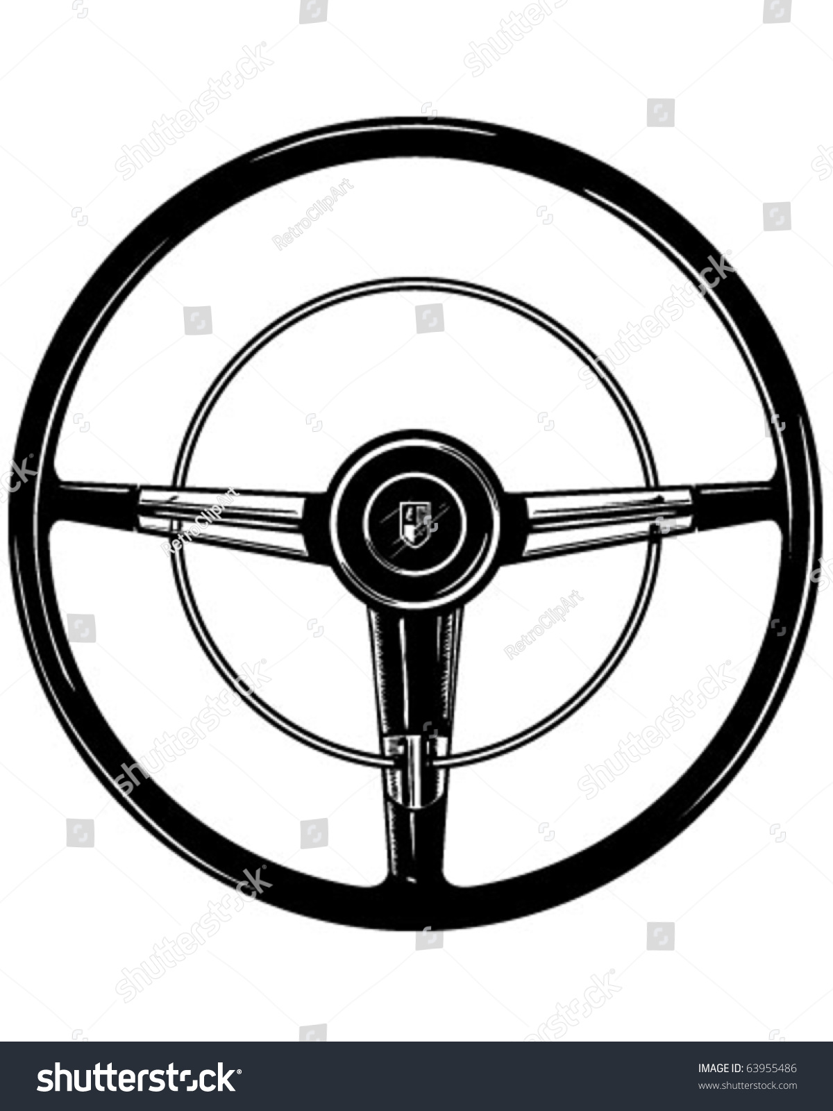 Retro Steering Wheel Clipart Illustration Stock Vector ...