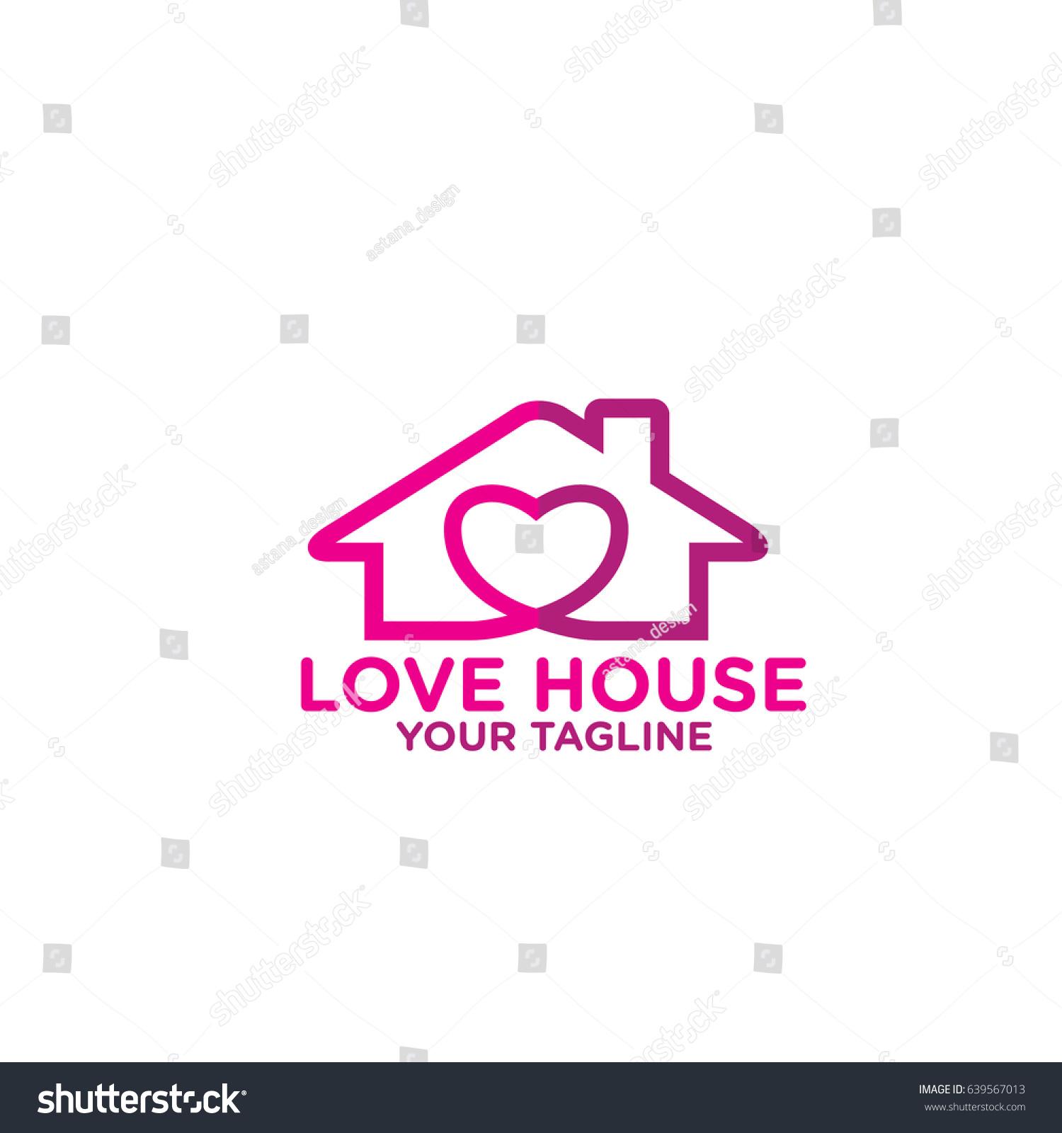 Love House Logo Design Couple Home Stock Vector 639567013