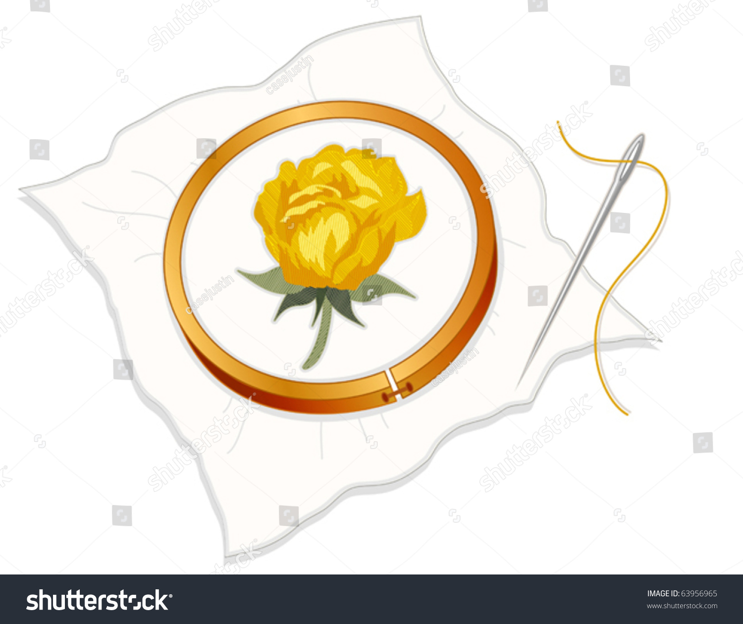Embroidery yellow damask rose stitchery on stock vector