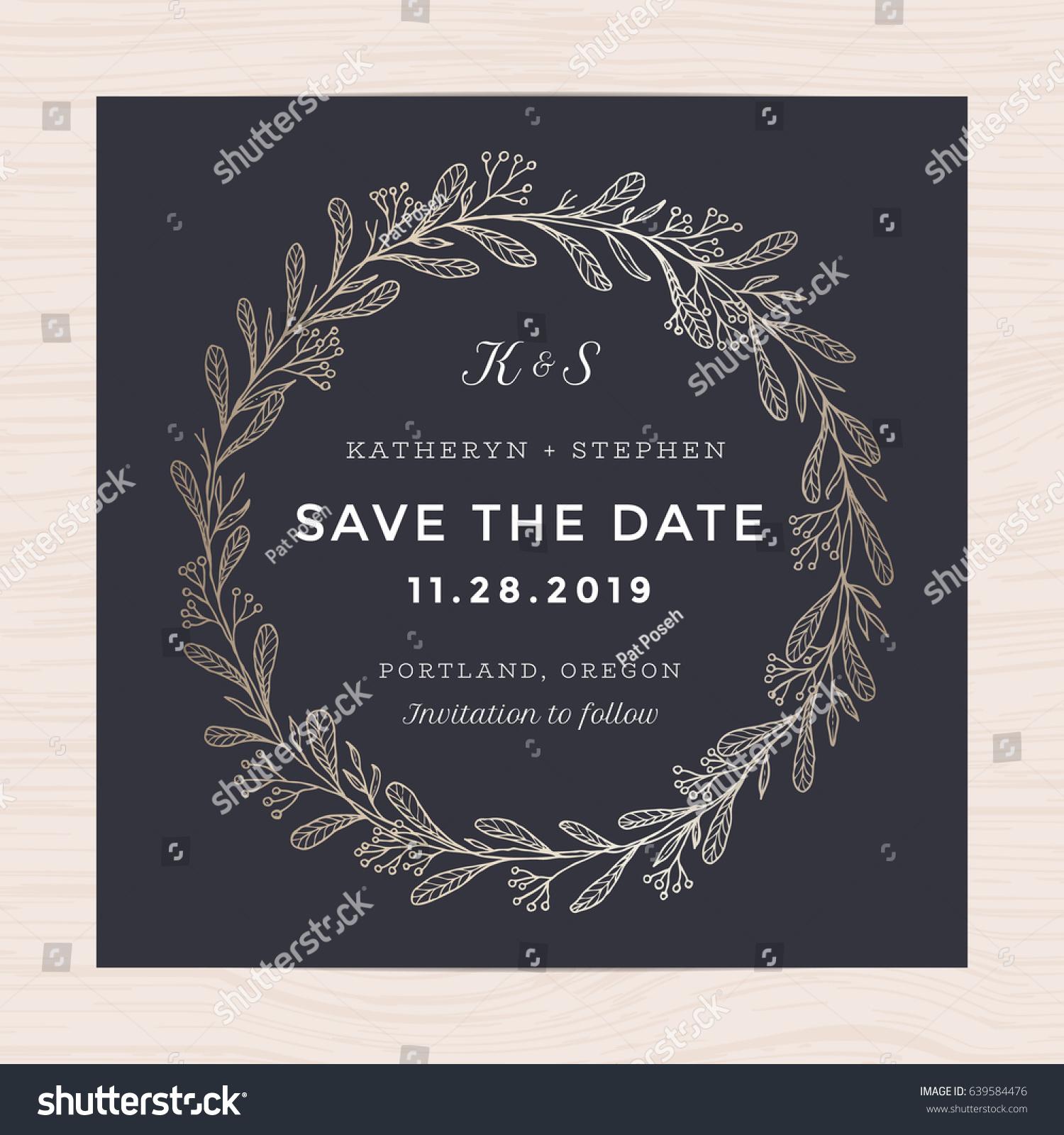 5 Blue Floral Wedding Invitation Card Vector Material: Elegant Floral Wreath Wedding Invitation Card Stock Vector