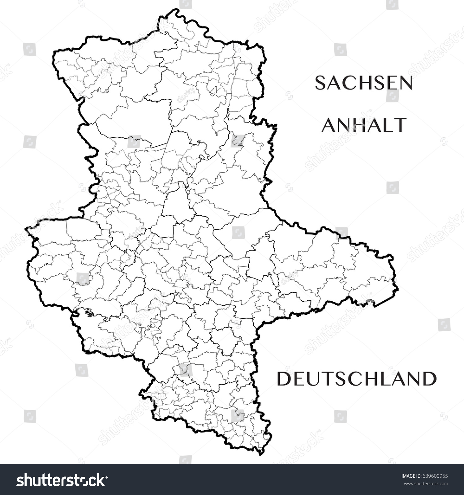 Detailed Map State Saxony Anhalt Germany Stock Vector 639600955