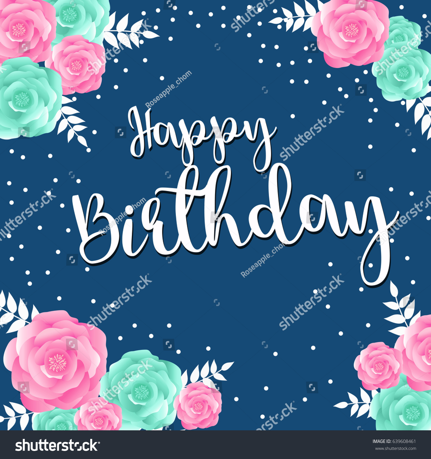 Happy Birthday Greeting Card Rose Flower Stock Vector Royalty Free