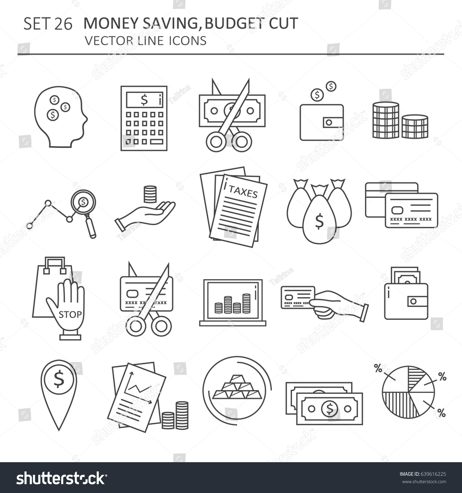 Set Symbols Money Saving Modern Flat Stock Vector 639616225