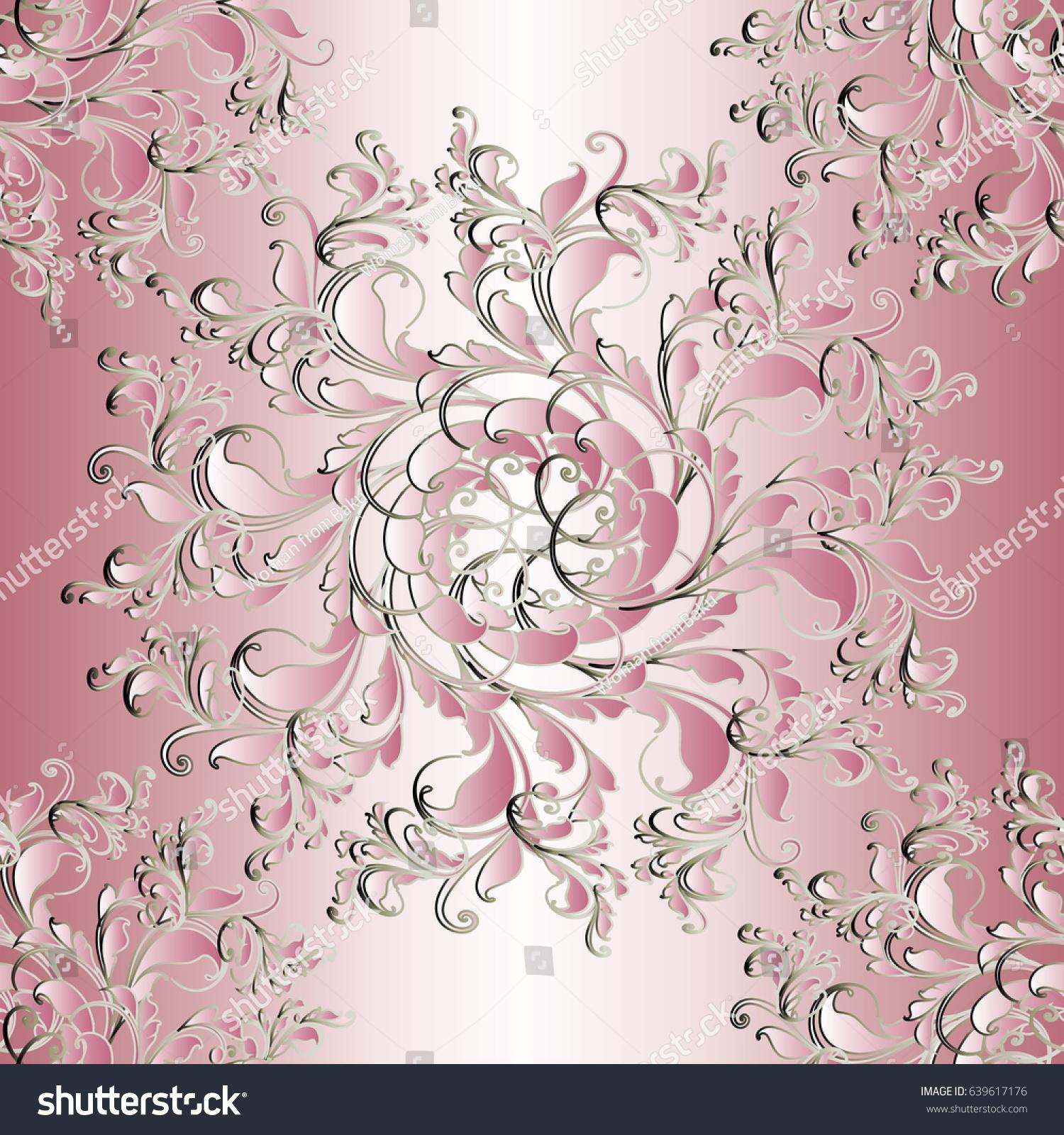 Floral Seamless Mandala Pattern Light Pink Stock Vector Royalty