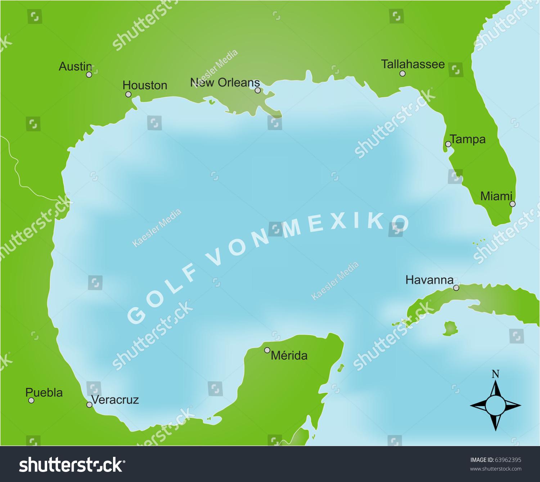 Stylized Map Area Gulf Mexico German Stockillustration 63962395