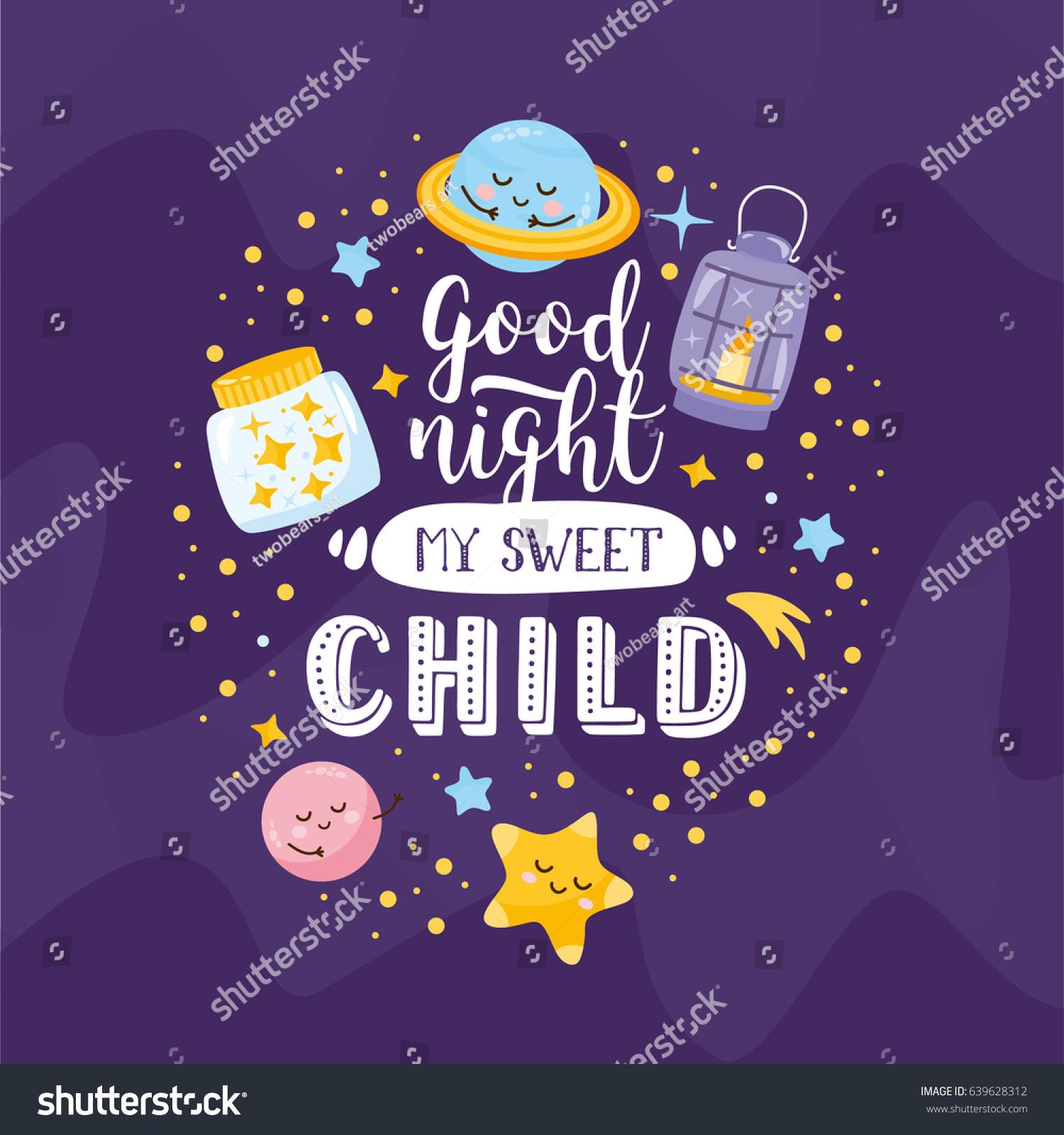 Good Night My Sweet Child Magic Stock Vector Royalty Free