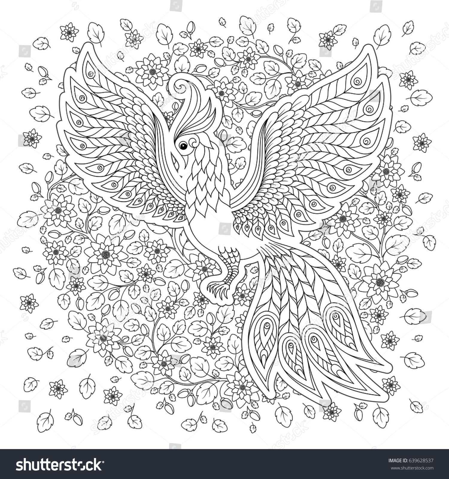 Anti stress colouring book asda - Exotic Bird Fantastic Flowers Leaves Firebird For Anti Stress Coloring Page With High