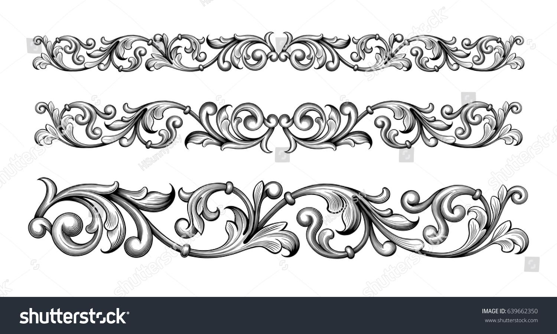 vintage baroque victorian frame border monogram stock