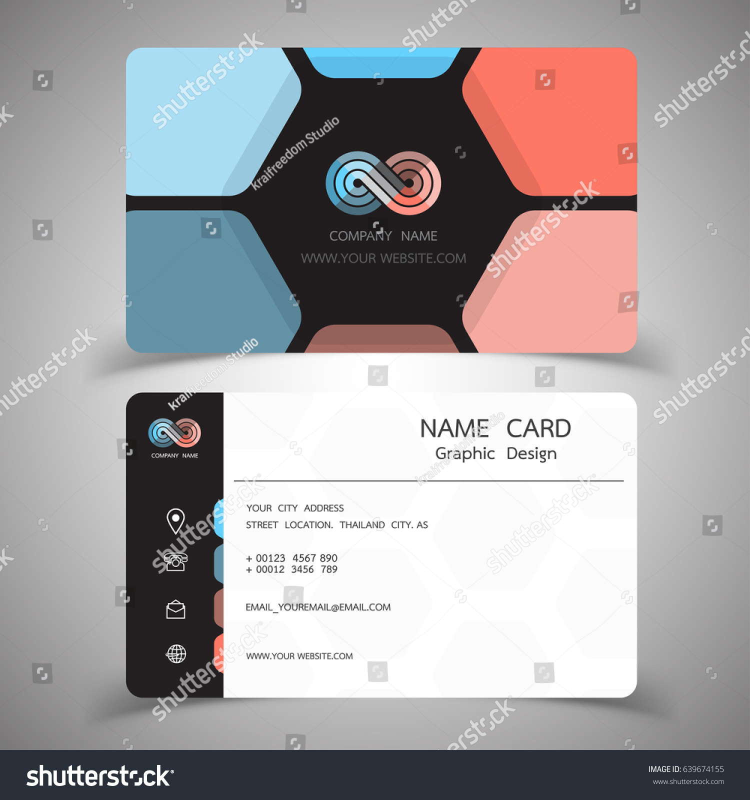 business card design set modern creative stock vector