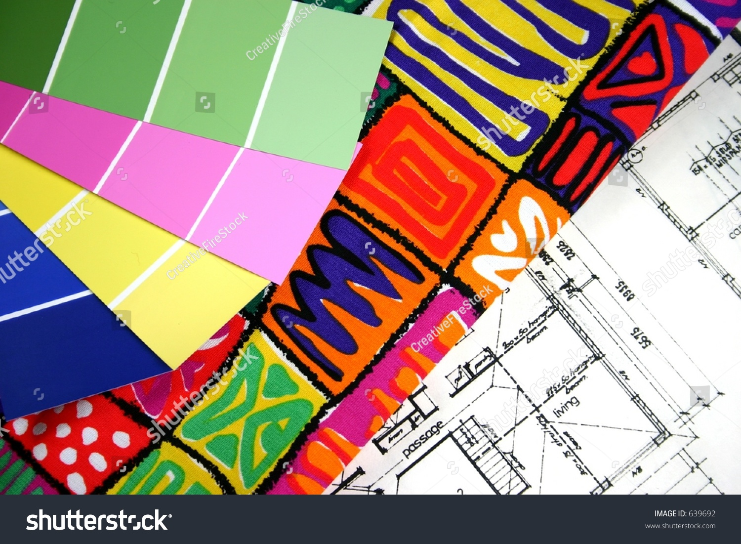 Home Decorating Samples Of Paint And Fabrics With House Plan In Background Stock Photo 639692