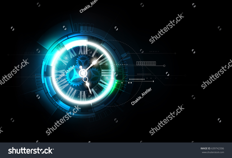 Futuristic Clock Abstract Futuristic Technology Background Clock Concept Stock