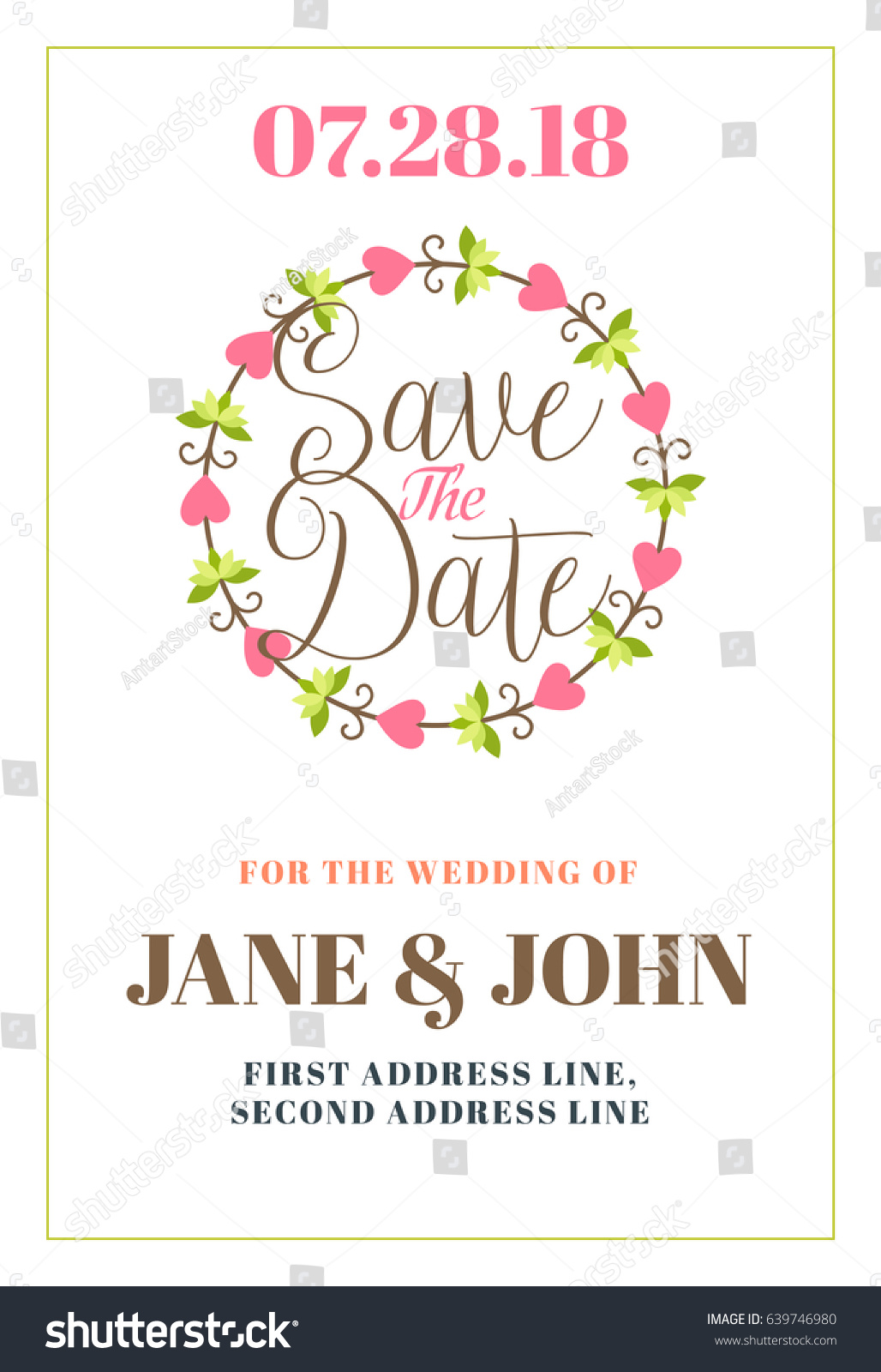 Save Date Wedding Invitation Card Design Stock Vector 639746980 ...