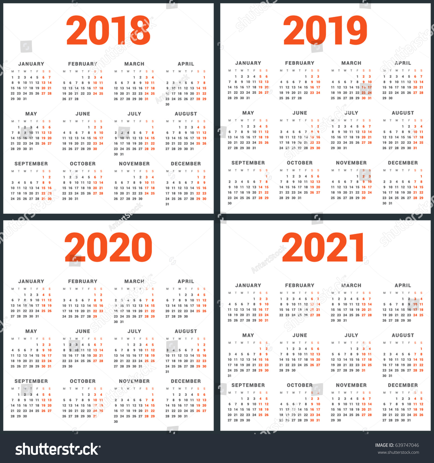 Set Calendars 2018 2019 2020 2021 Stock Vector 639747046