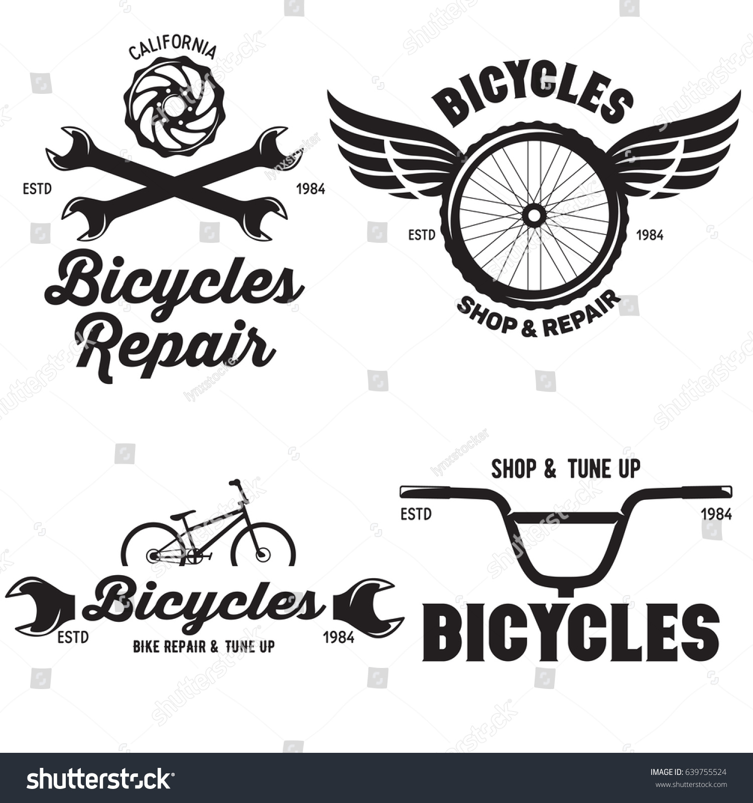 Set Vintage Modern Bike Shop Logo Stock Vector 639755524