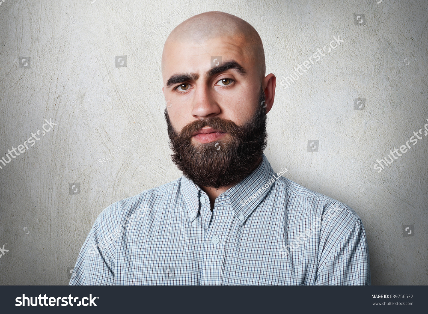 Confident Bald Male Thick Black Eyebrows Stock Photo Edit Now