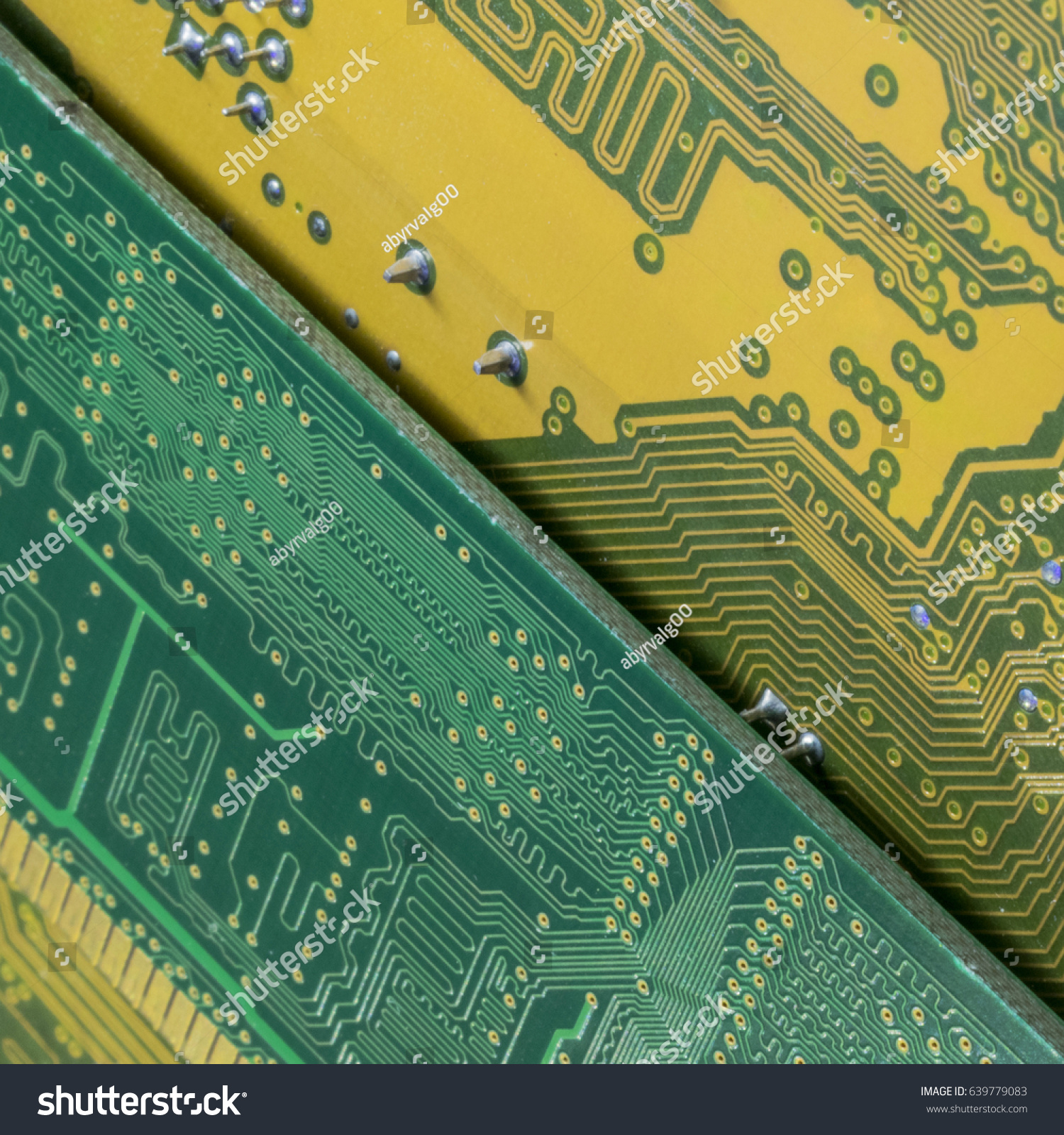 Computer Circuit Board Green Yellow Colors Stock Photo Edit Now With Electronics Components And In Technical Science Background Information