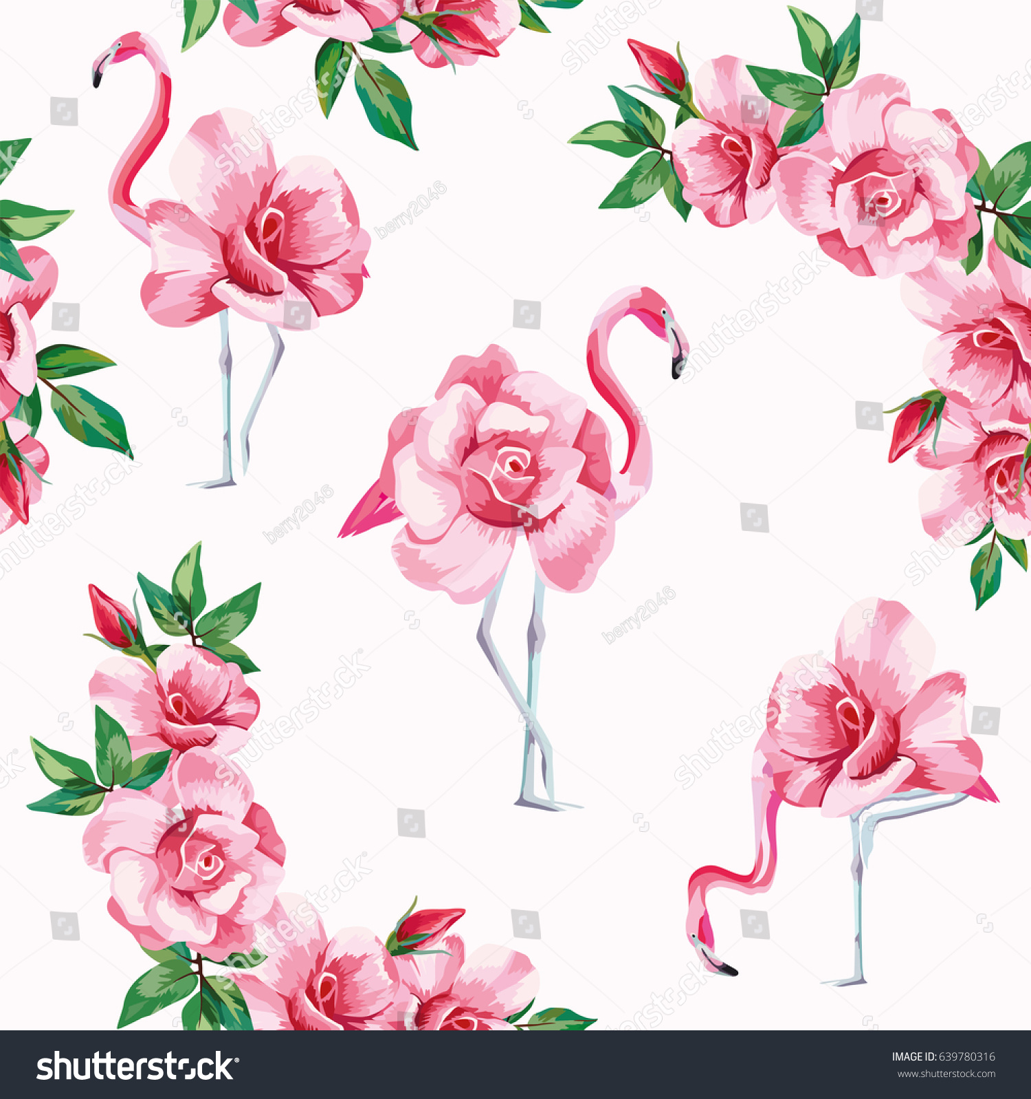 Beach image of a wallpaper with a beautiful tropic pink flamingo and rose  flowers Seamless