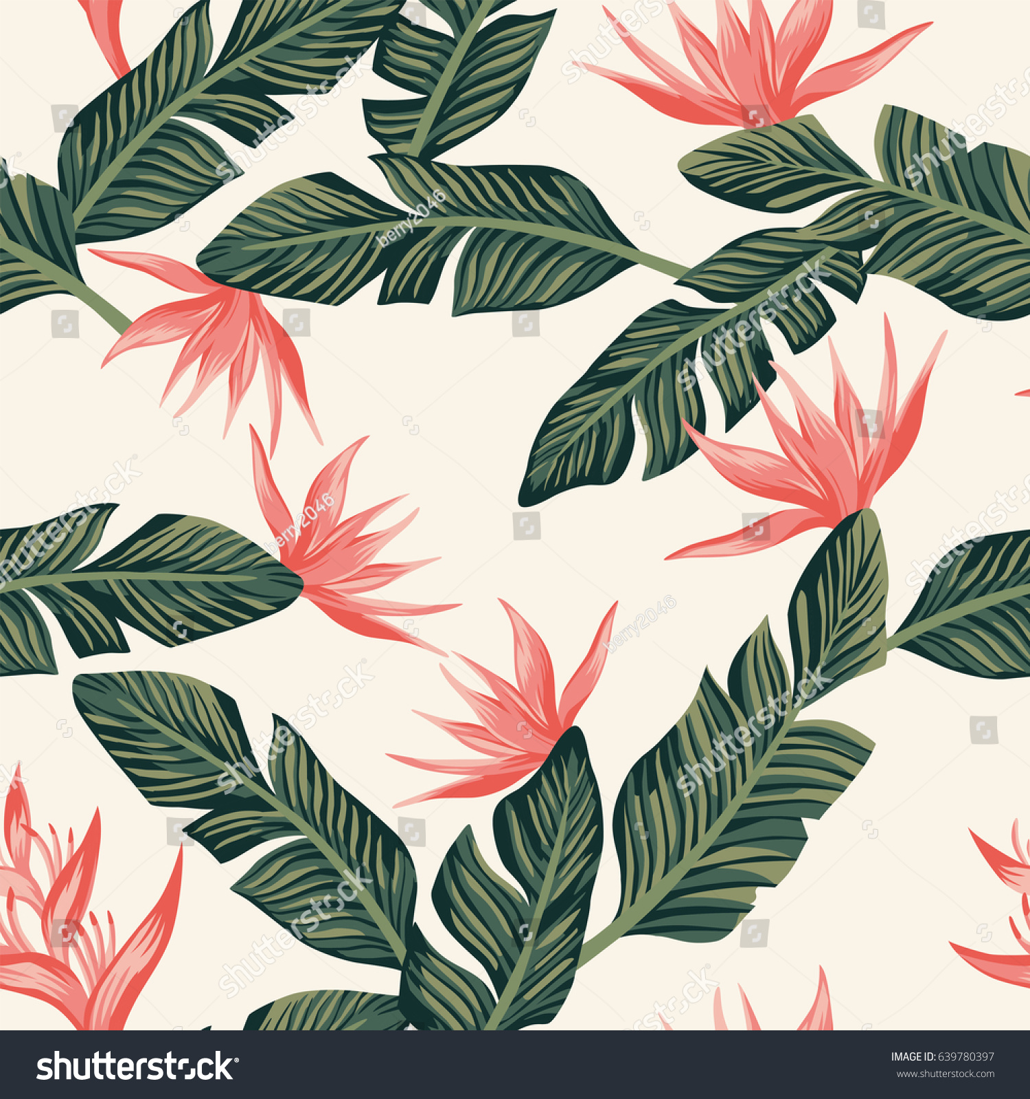 Spring Green Leaves And Flowers Background With Plants: Beach Cheerful Seamless Pattern Wallpaper Tropical Stock