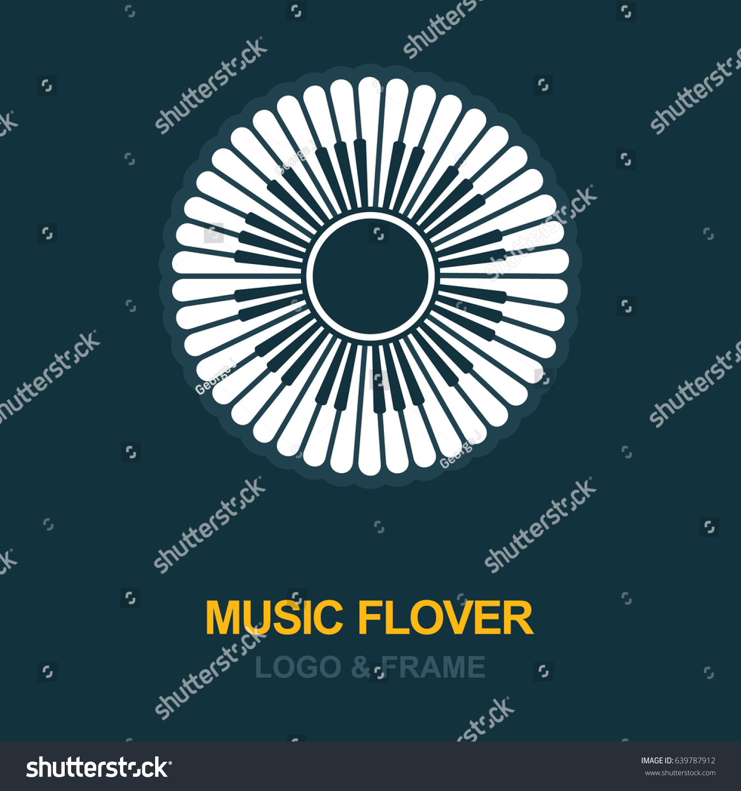 musical logo icon flower petals piano stock vector royalty free