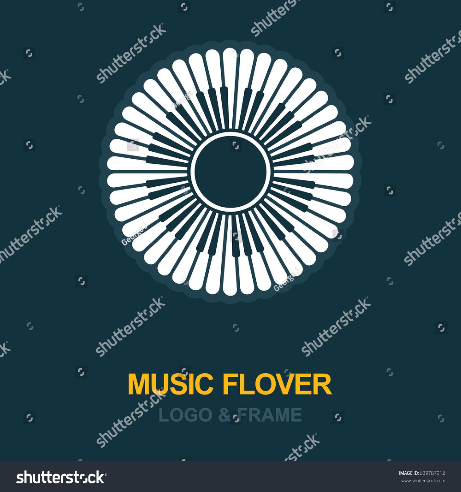 musical logo icon flower petals piano stock vector royalty free
