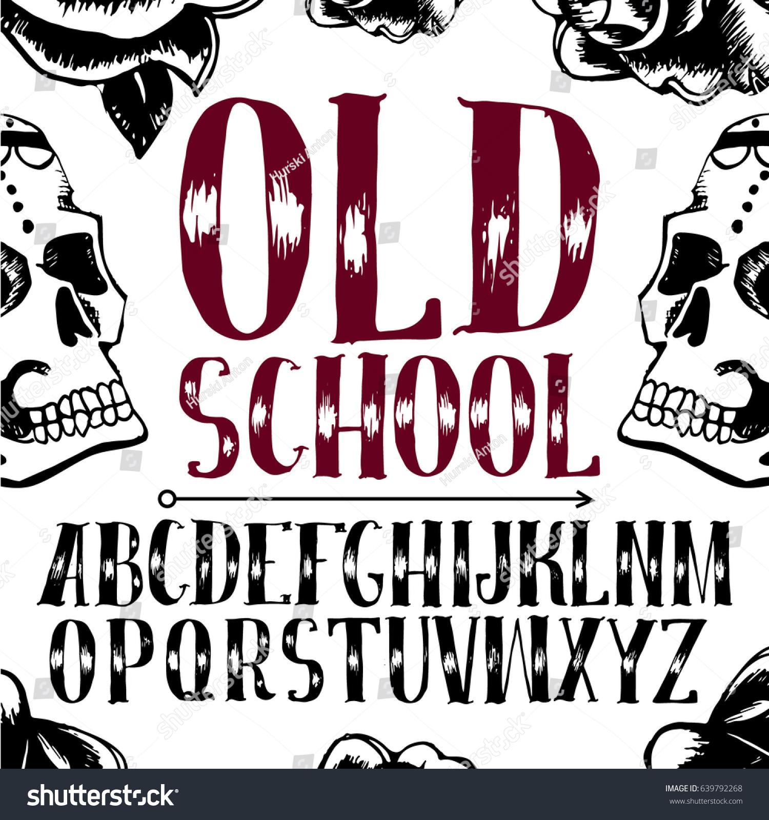 Old School Tattoo Style Font Alphabet