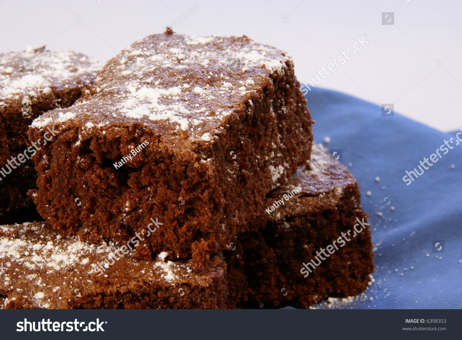 Thick Chocolate Fudge Brownies With Powdered Sugar