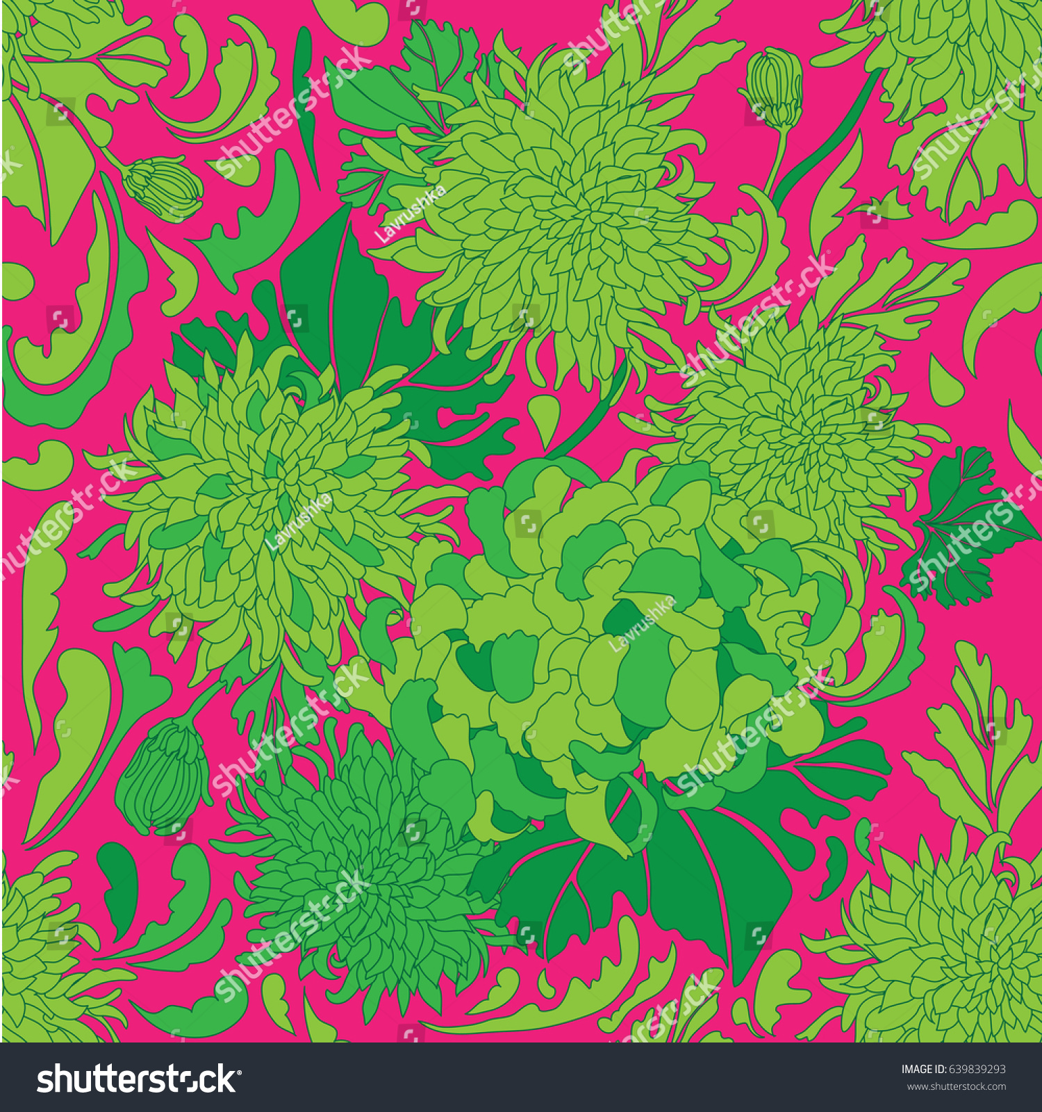 Pink floral seamless vector background floral hrysanthemum seamless - Seamless Vector Flower Pattern In The Style Of The 70 S Green Flower On A Pink