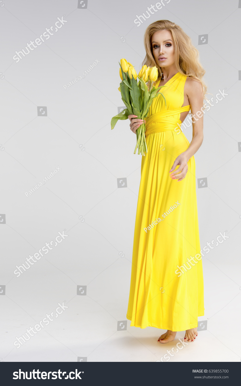Beautiful Blonde Girl Yellow Dress Flowers Stock Photo Edit Now