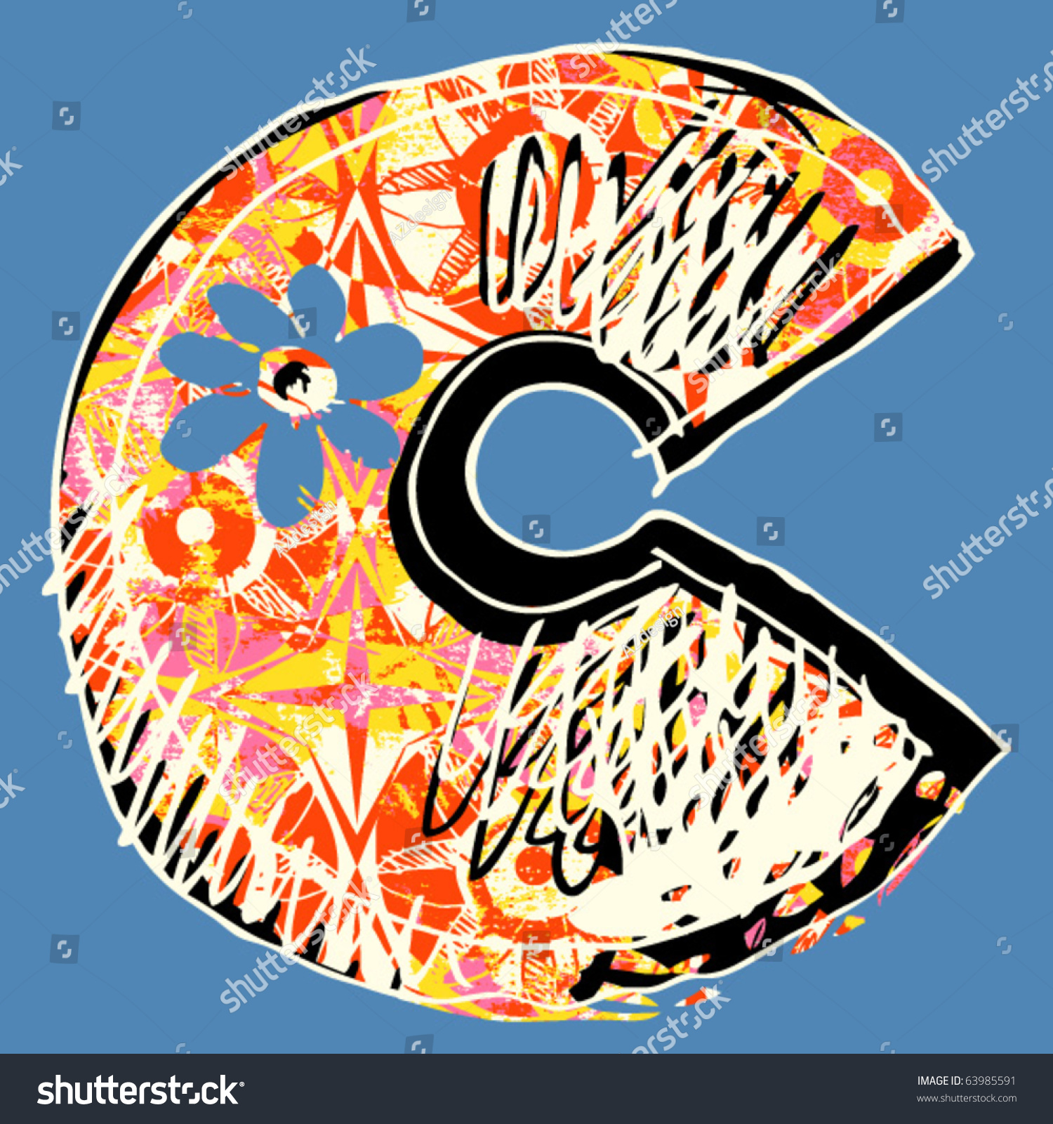 Graffiti Alphabet Hand Drawn Letter C Stock Vector