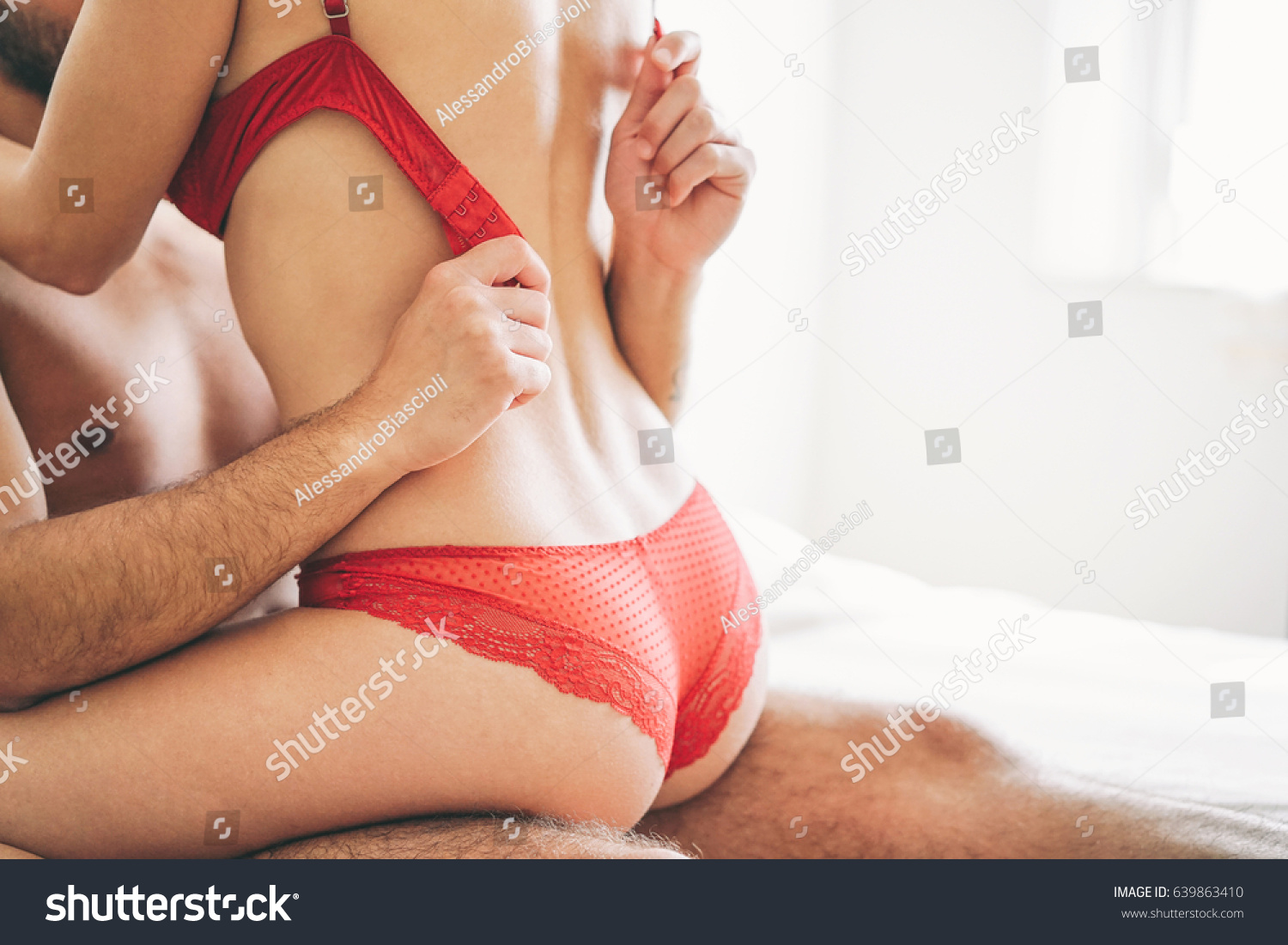 Beautiful Passionate Young Couple Having Sex On The Bed At Home Intimate And Sensual Moments