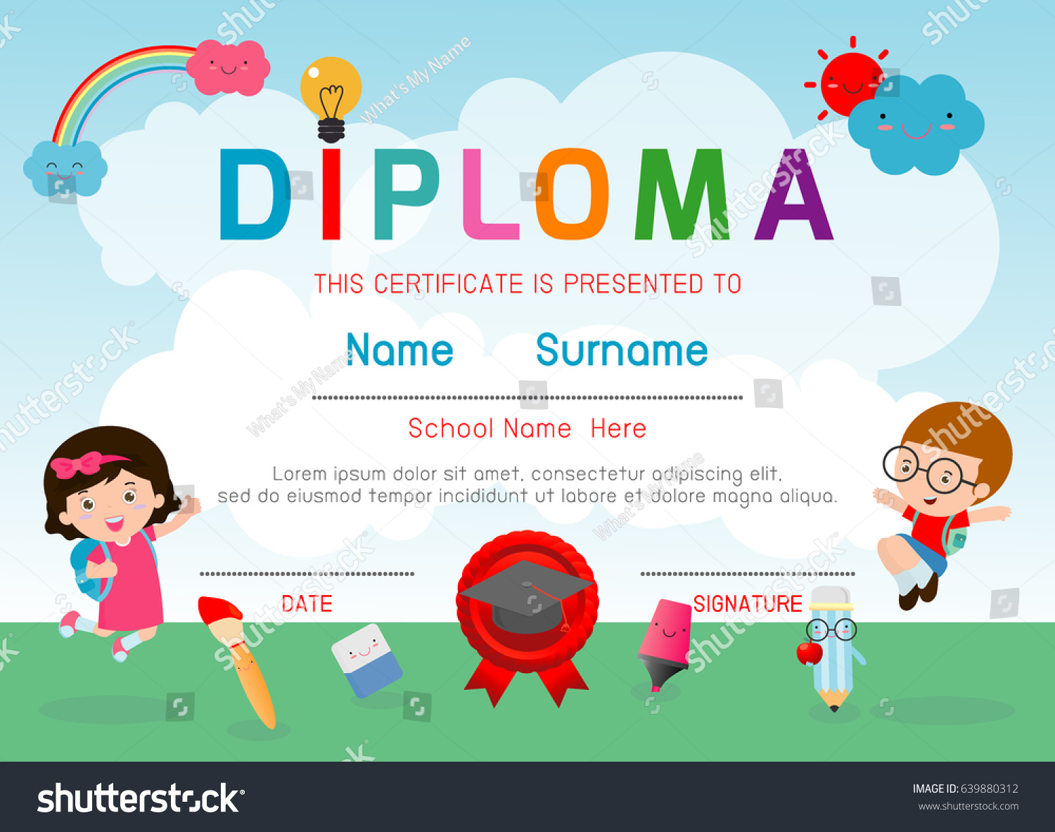Certificate kids diploma kindergarten template layout stock vector certificate kids diploma kindergarten template layout space background frame design vector diploma template for xflitez Choice Image
