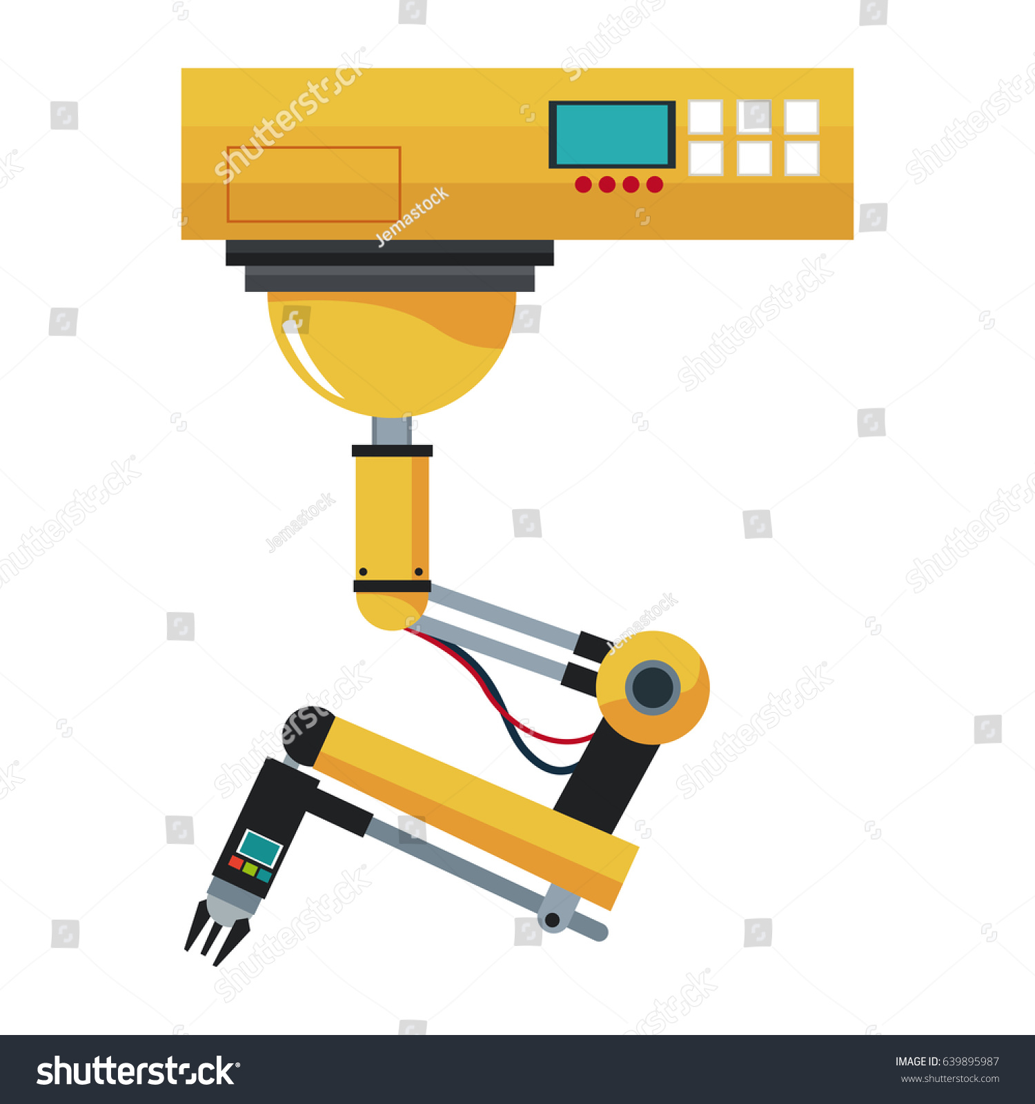 Industrial Robotic Arm Control System Button Stock Vector (Royalty