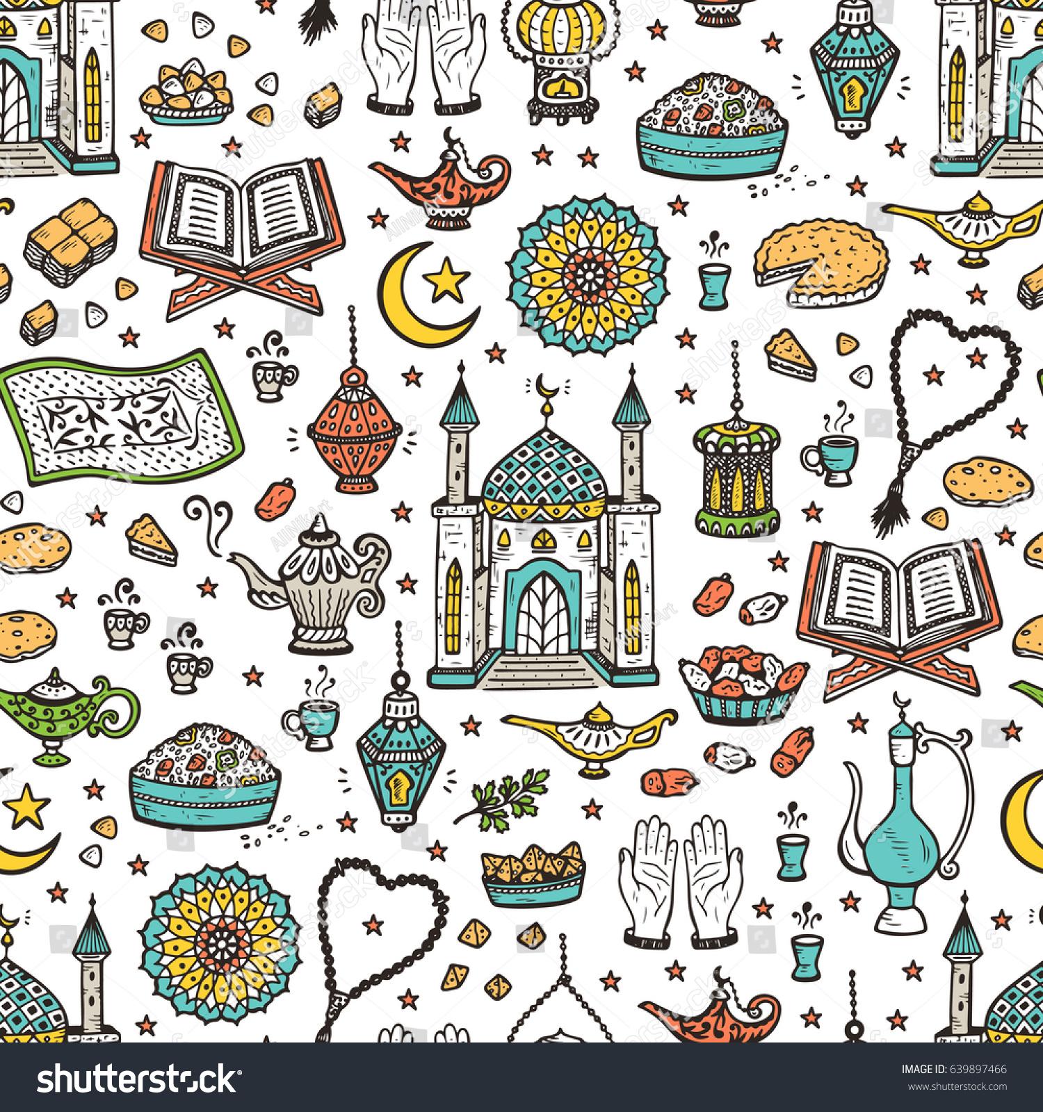 eid mubarak seamless pattern muslim festival stock vector 639897466