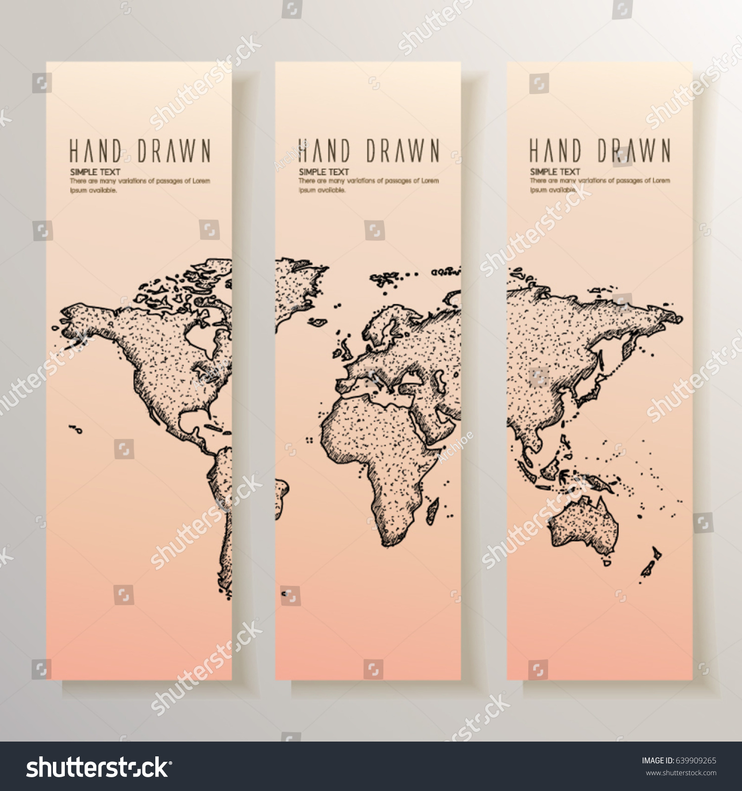 Set vertical banners hand drawn world stock vector 639909265 set of vertical banners with hand drawn world map gumiabroncs Choice Image